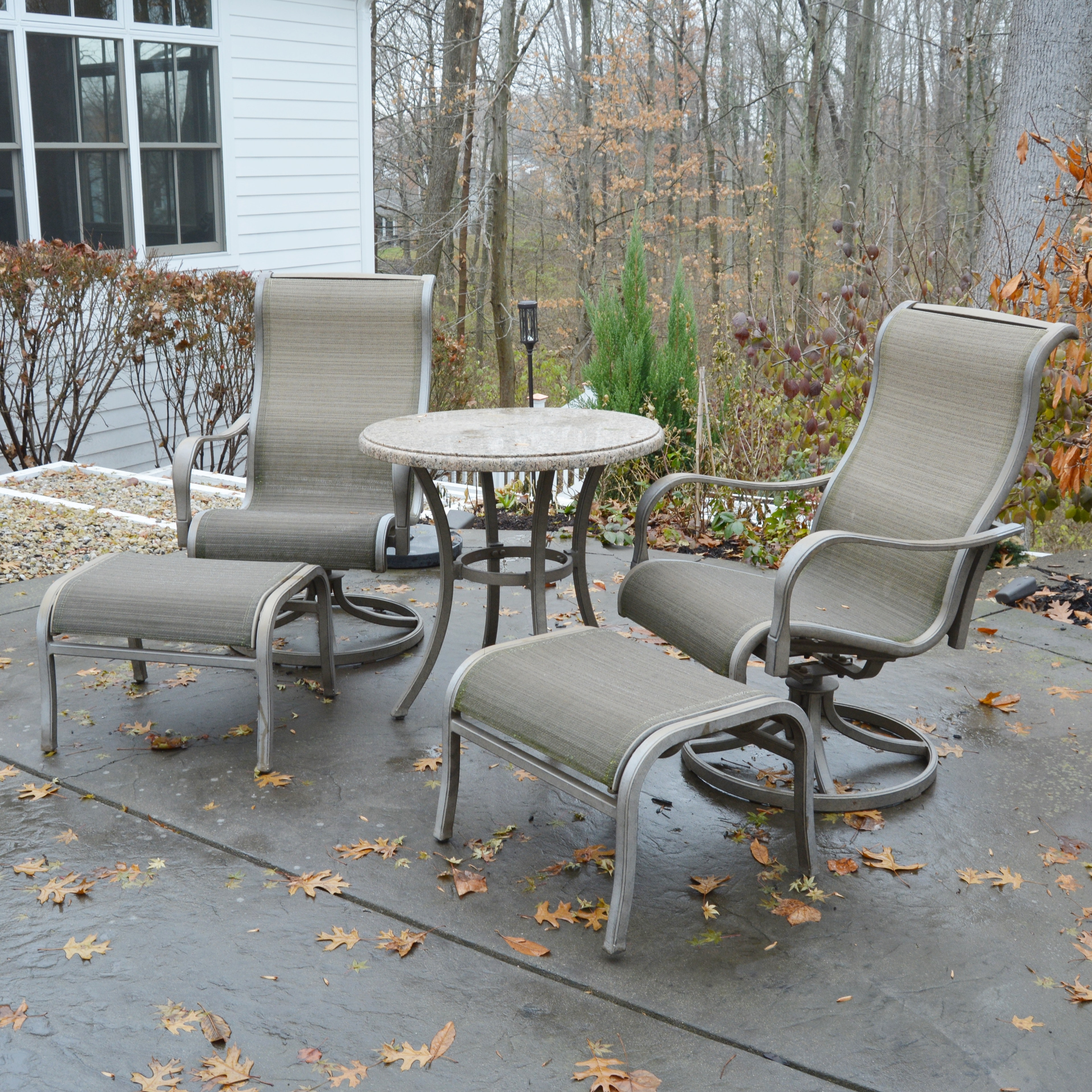 Patio Bistro Table with Swivel Chairs and Ottomans