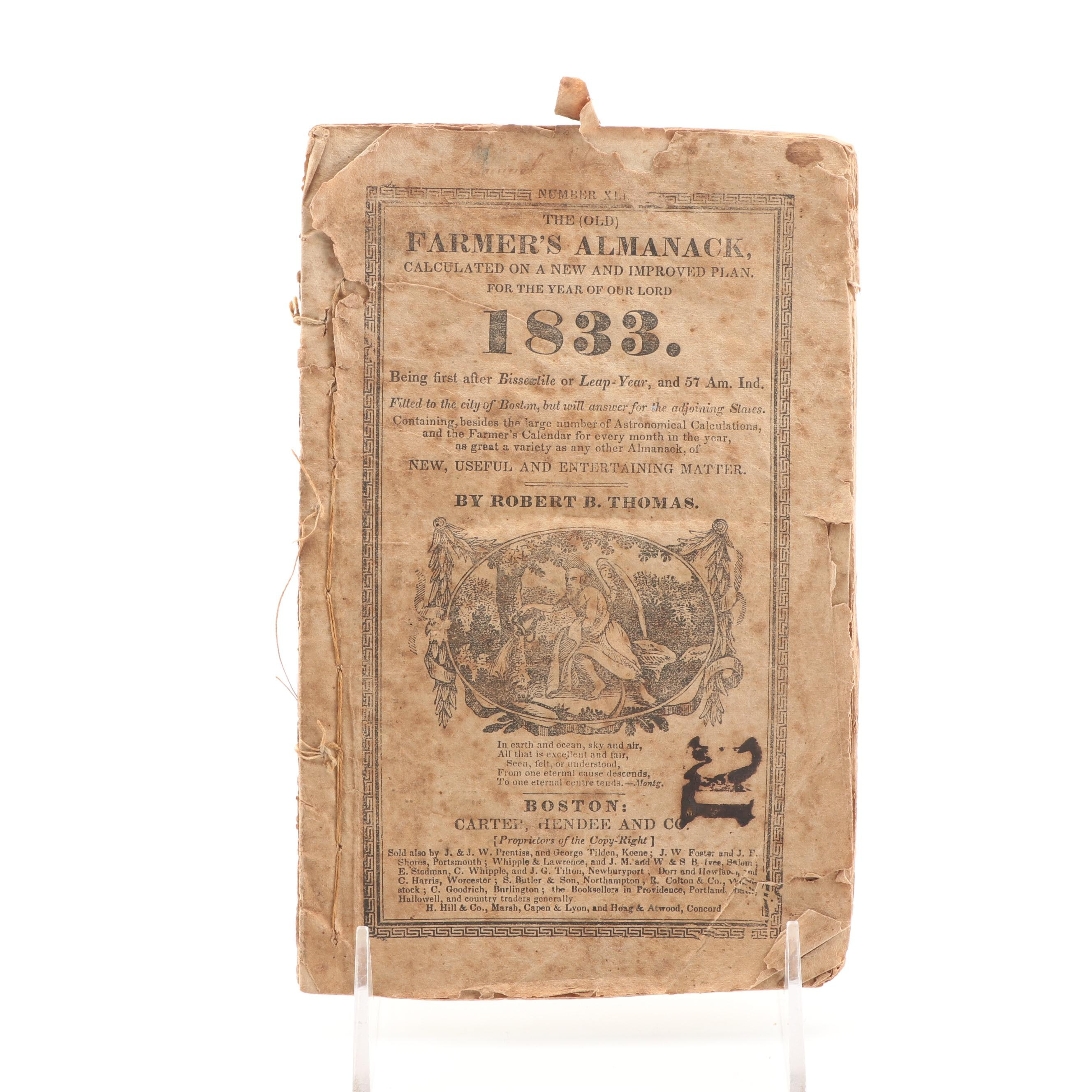 "1833 ""The Old Farmers Almanac"" by Robert B. Thomas"
