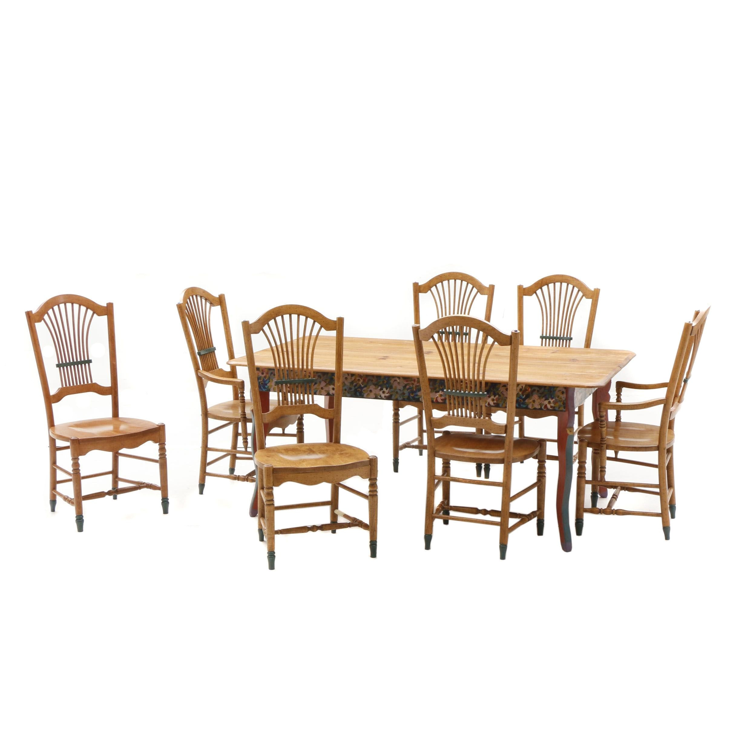 David Marsh Painted Pine Dining Table and Six Chairs