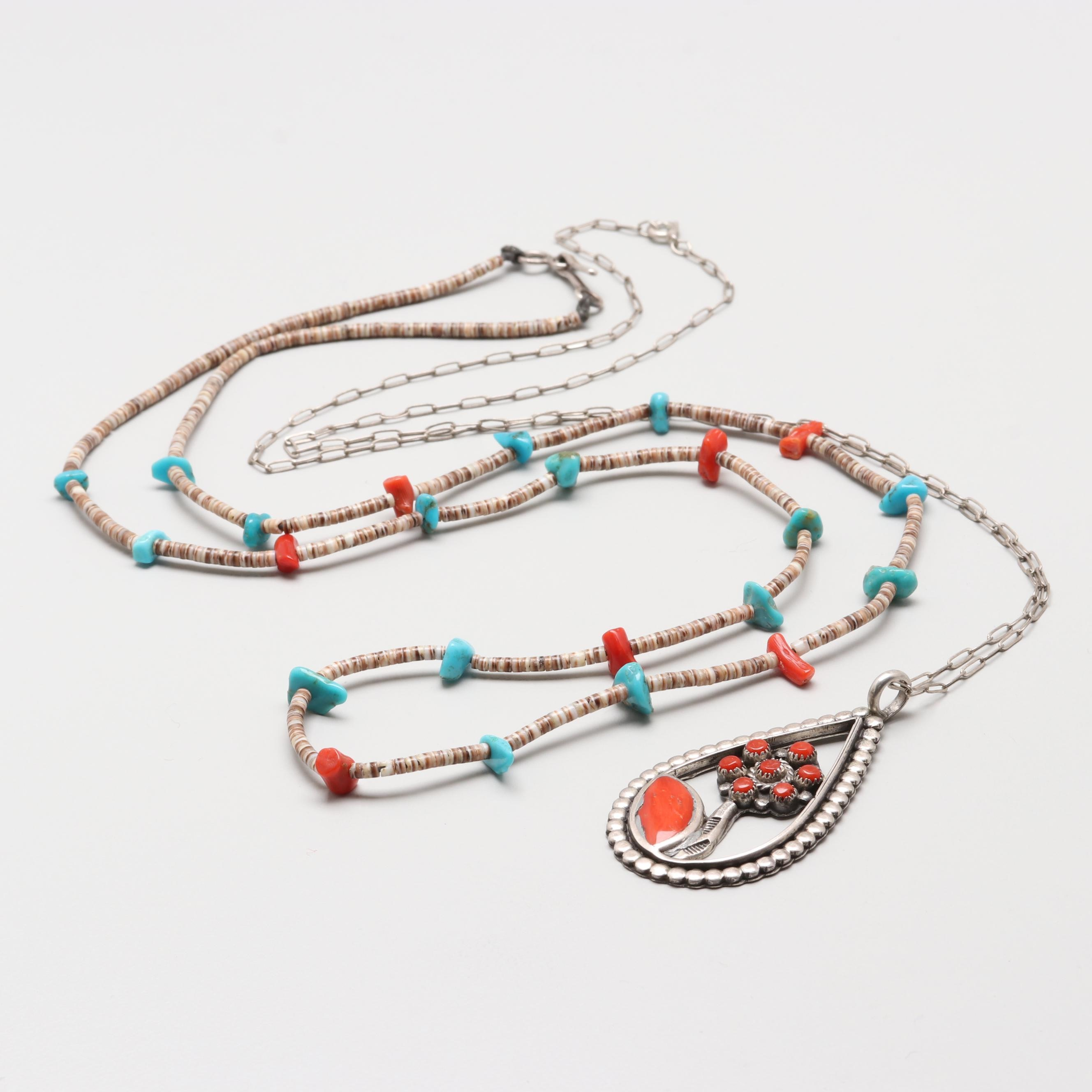 Sterling Coral and Turquoise Necklaces Including Willard and Vela Sanchez Zuni