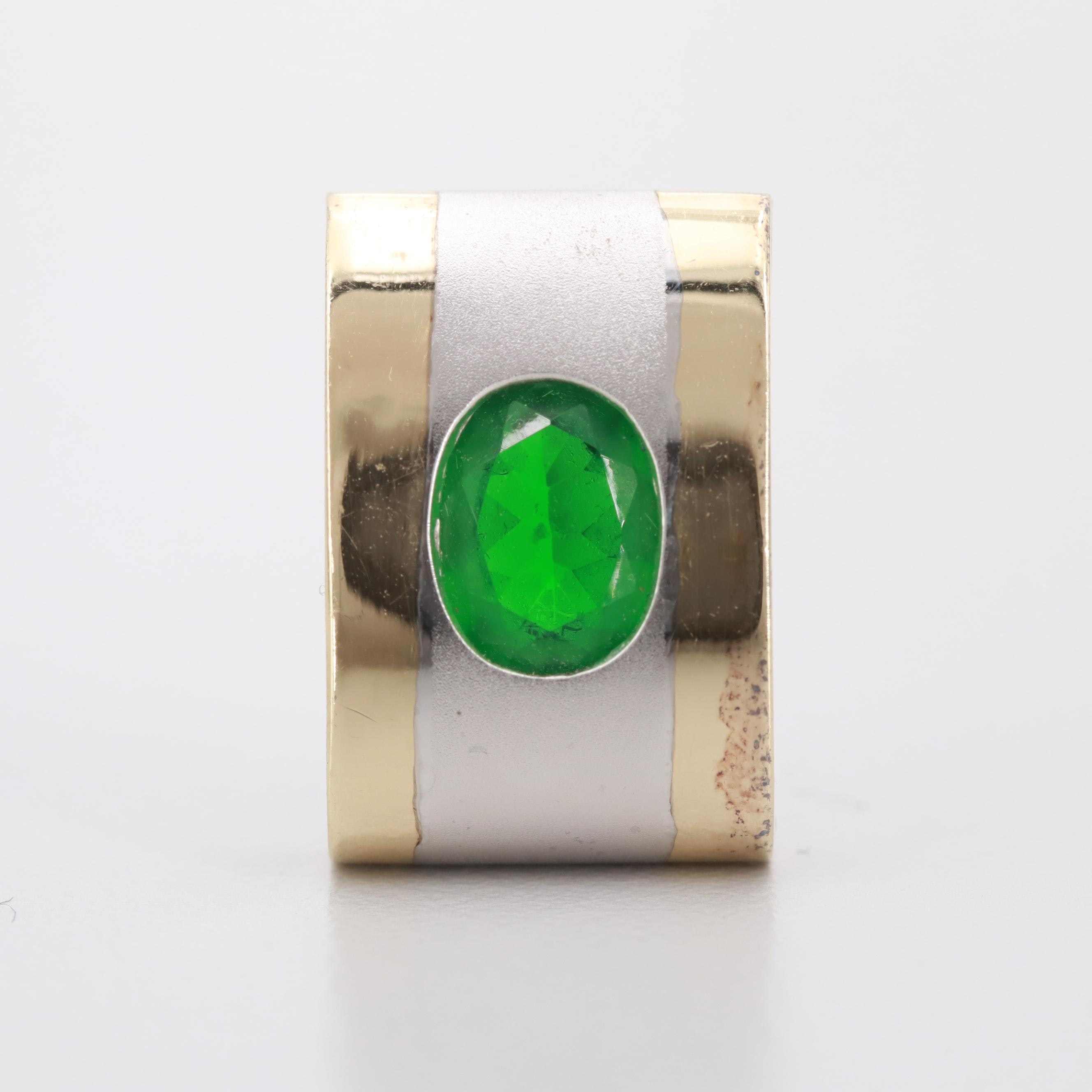 14K Yellow and White Gold Green Glass Pendant