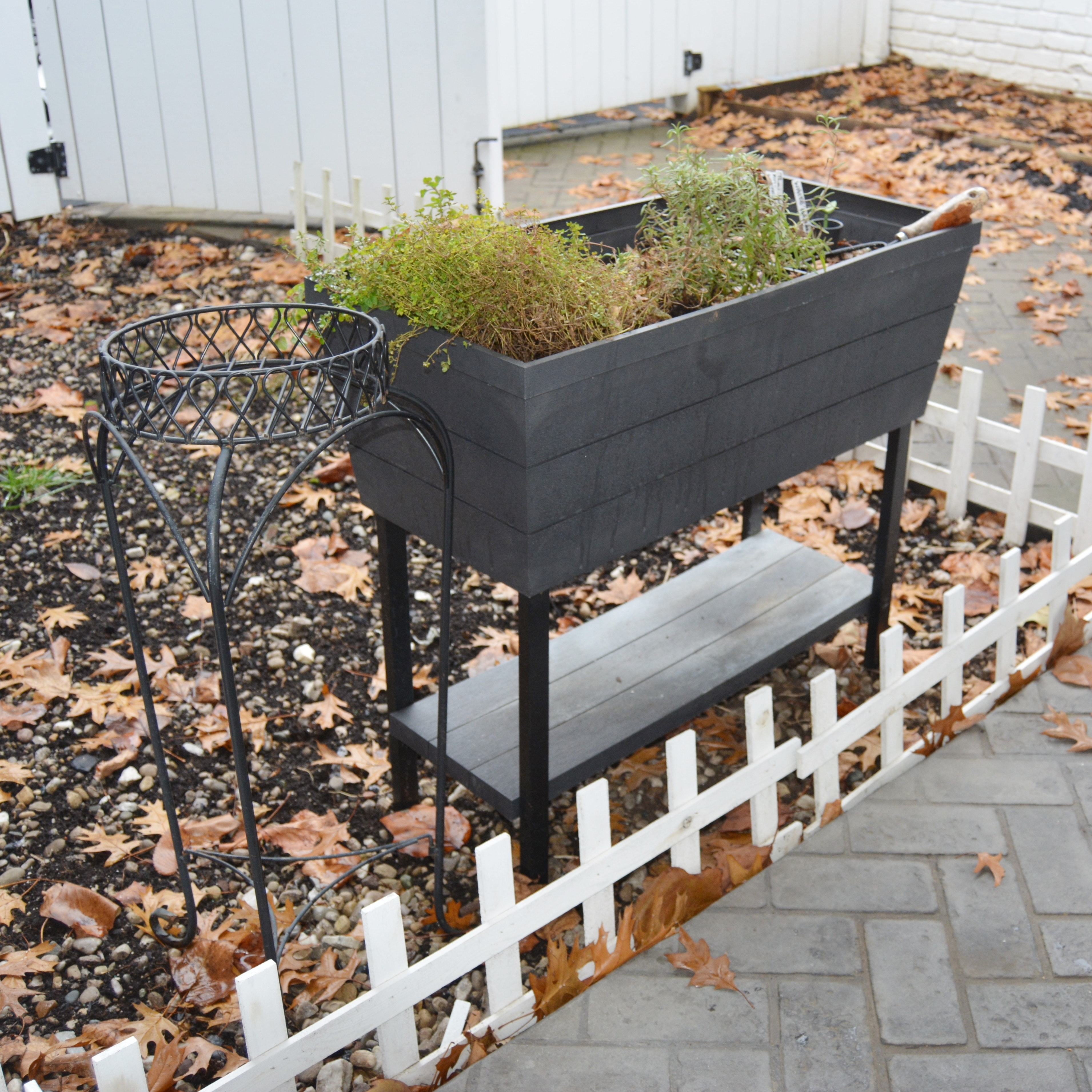 Rectangular Garden Planter and Wire Plant Stand