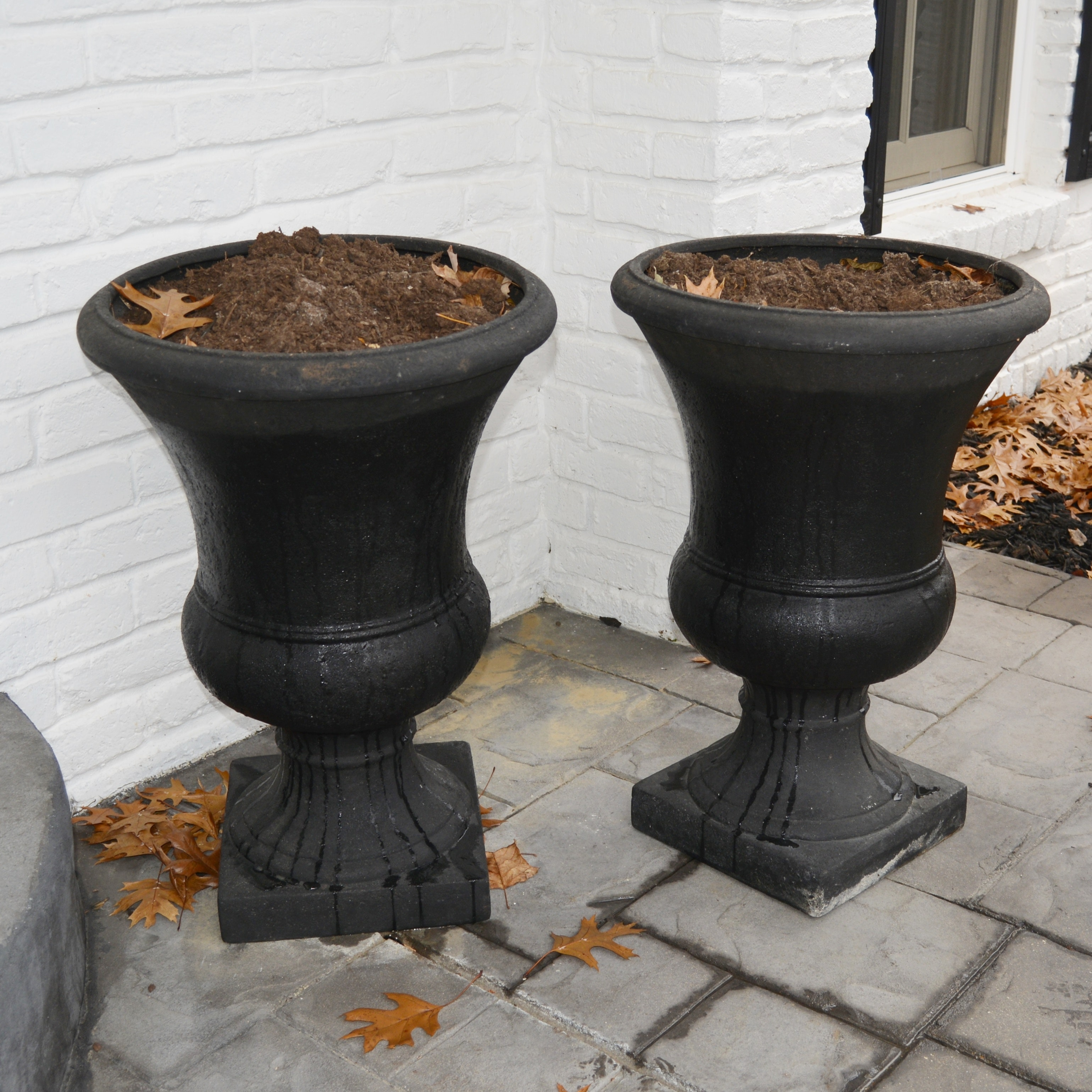 Pair of Urn-Shaped Plastic Pedestal Planters