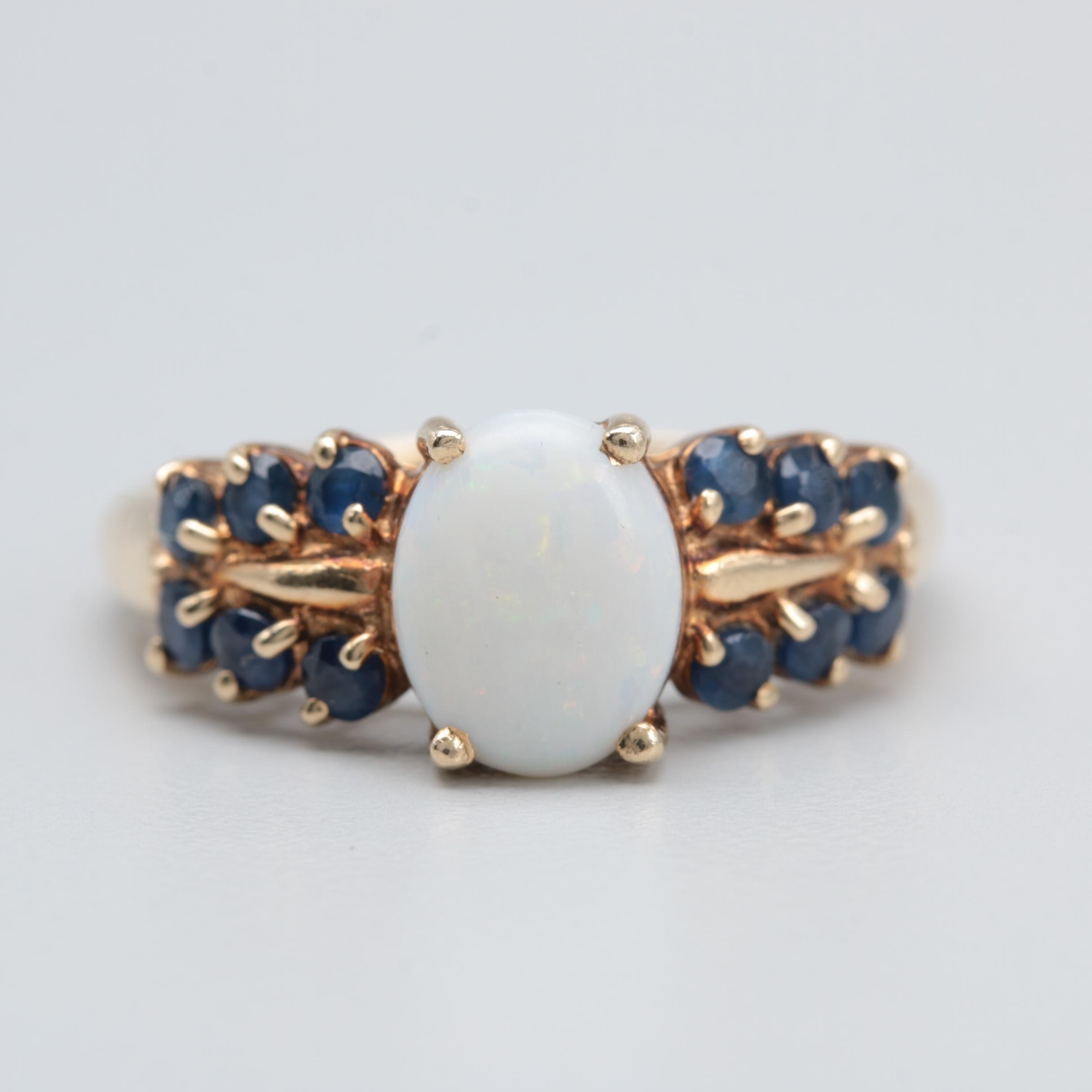 10K Yellow Gold Opal and Sapphire Ring