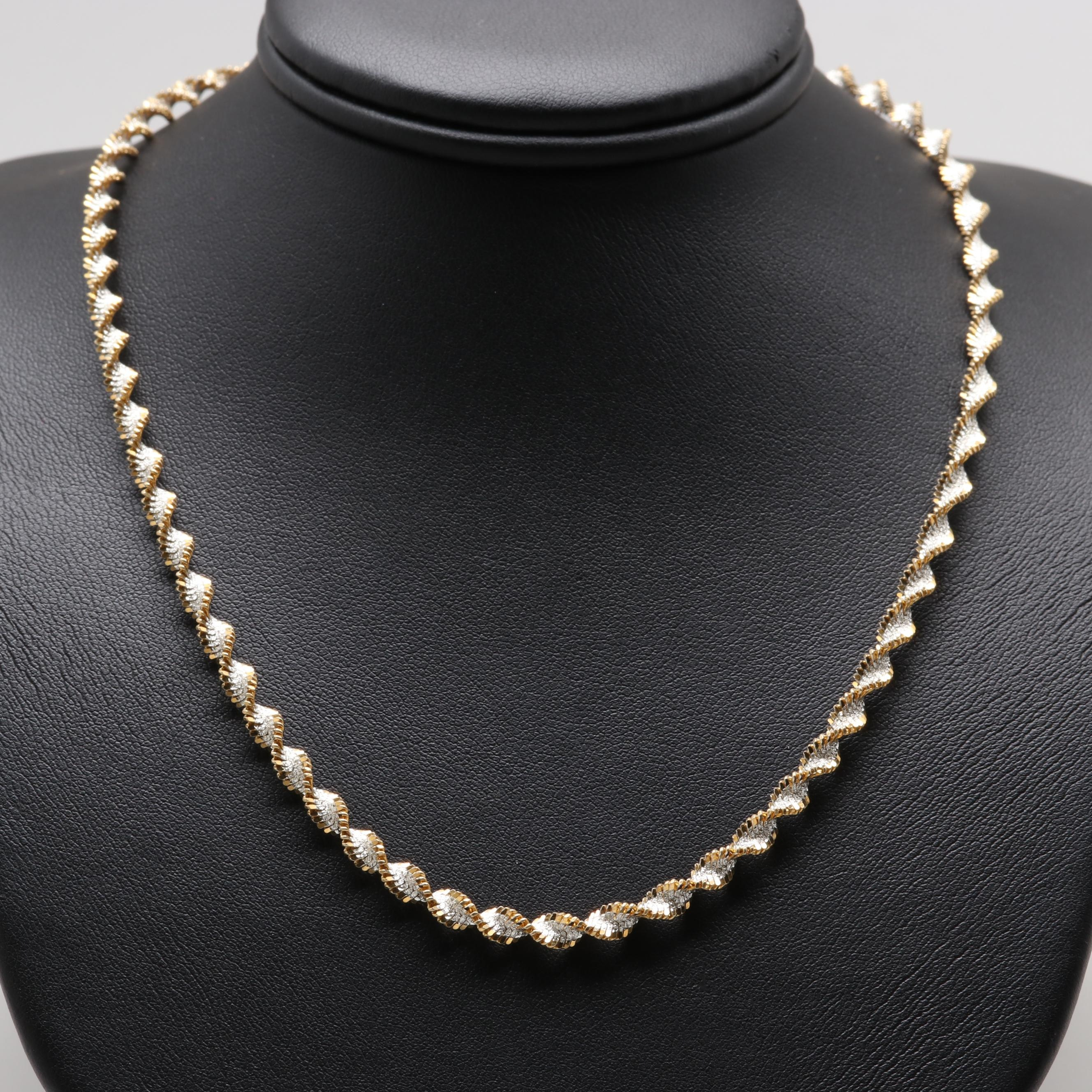 Sterling Silver Twisted Herringbone Chain Necklace with Gold Wash Accents