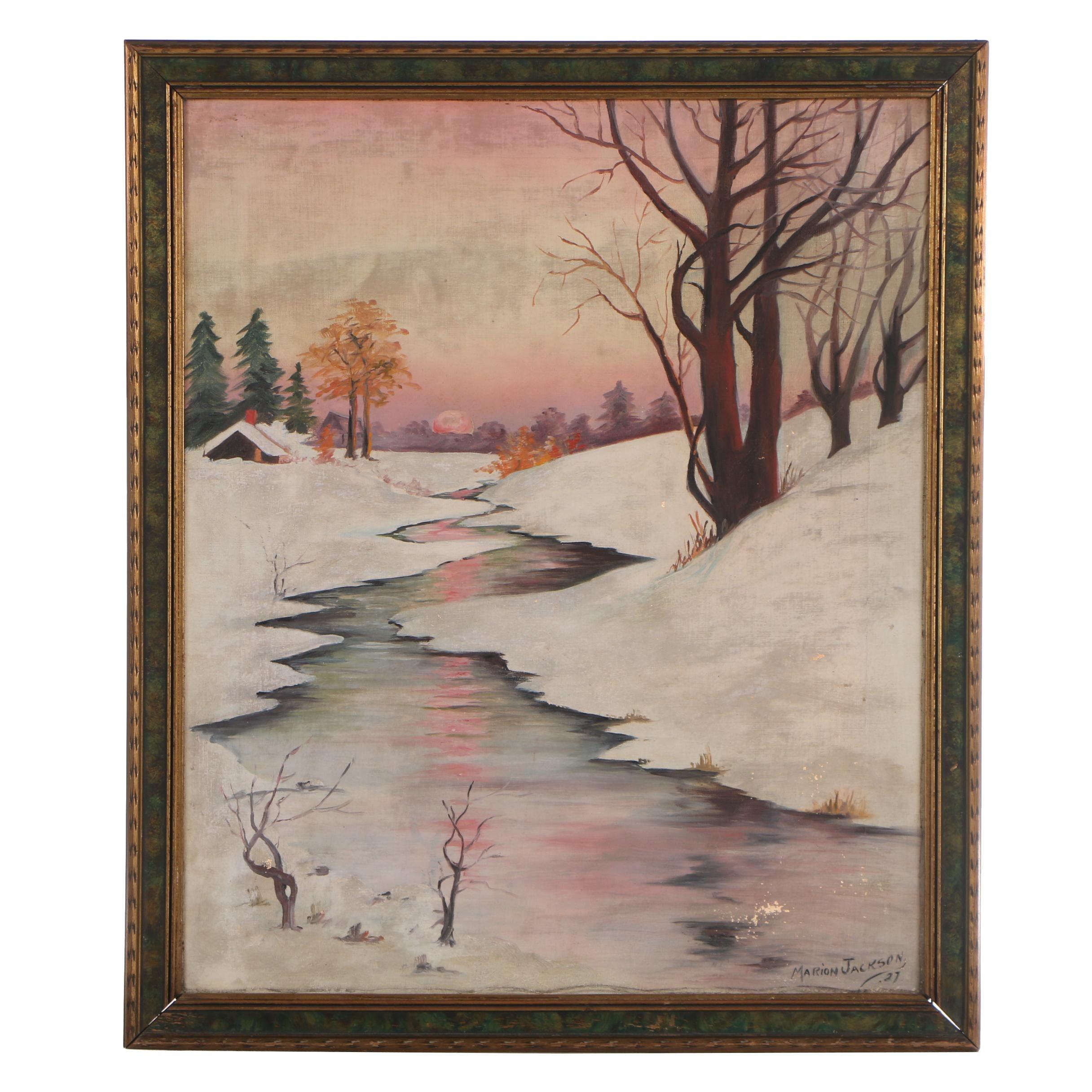 Marion Jackson Winter Landscape Oil Painting