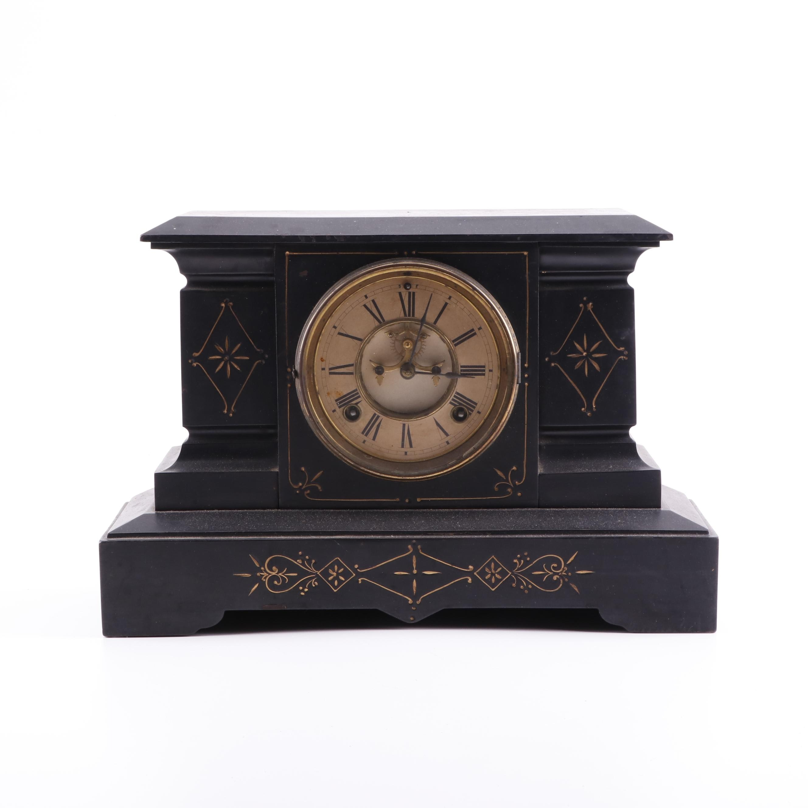 Ansonia Slate Mantle Clock, Late 19th Century