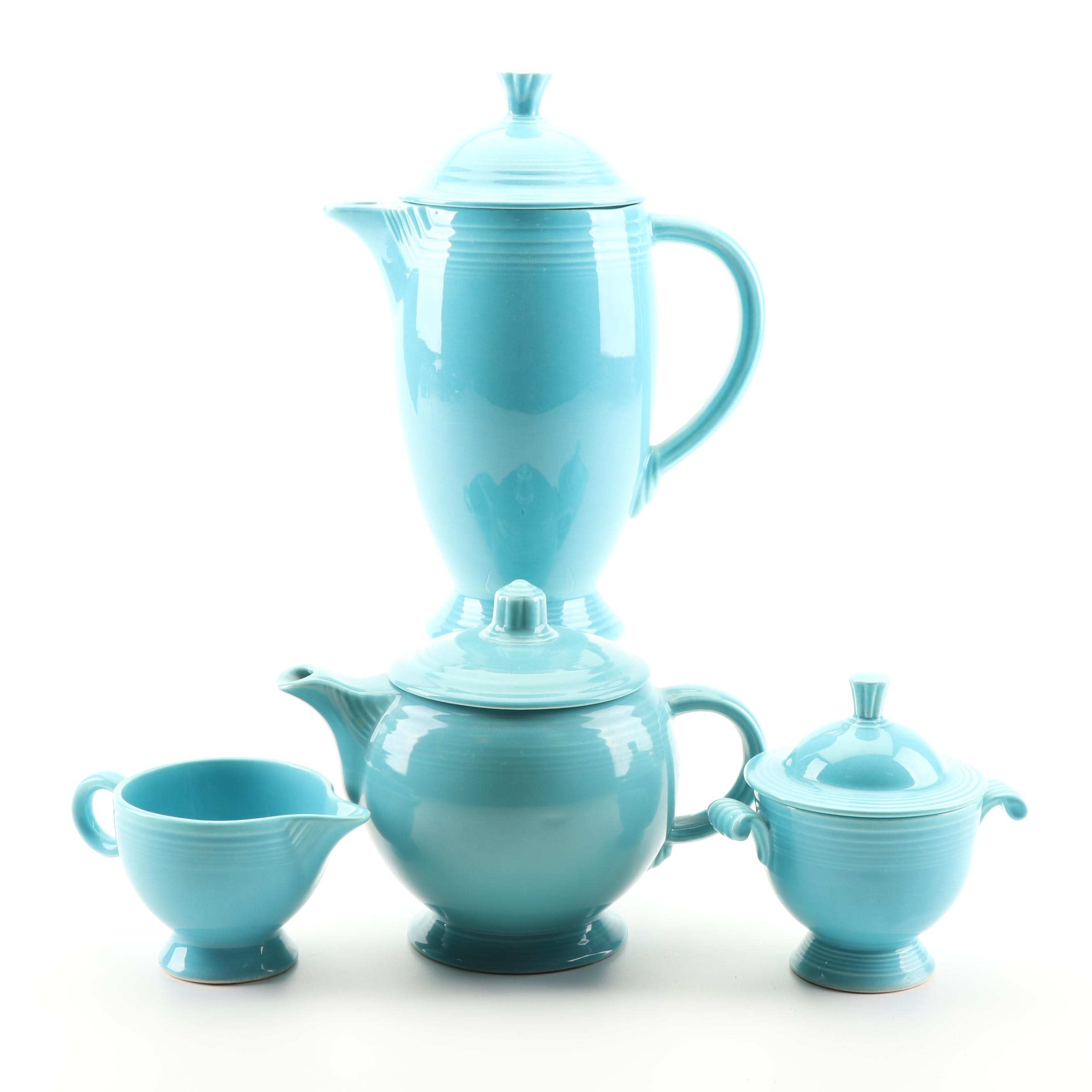 "Homer Laughlin Turquoise ""Fiesta"" Coffee and Tea Ceramic Serveware, 1950's"