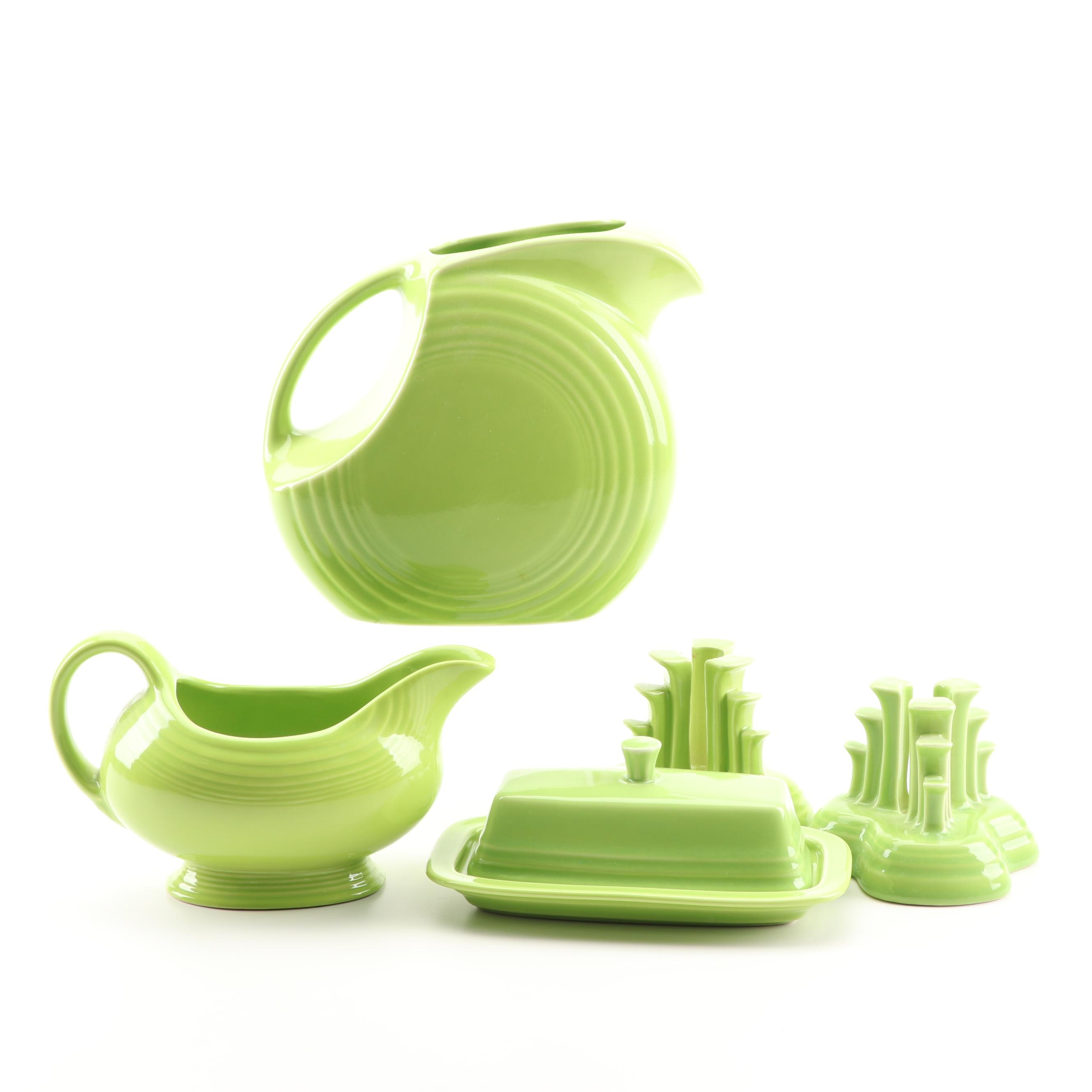 """Homer Laughlin Chartreuse """"Fiesta"""" Serveware and Candle Holders"""
