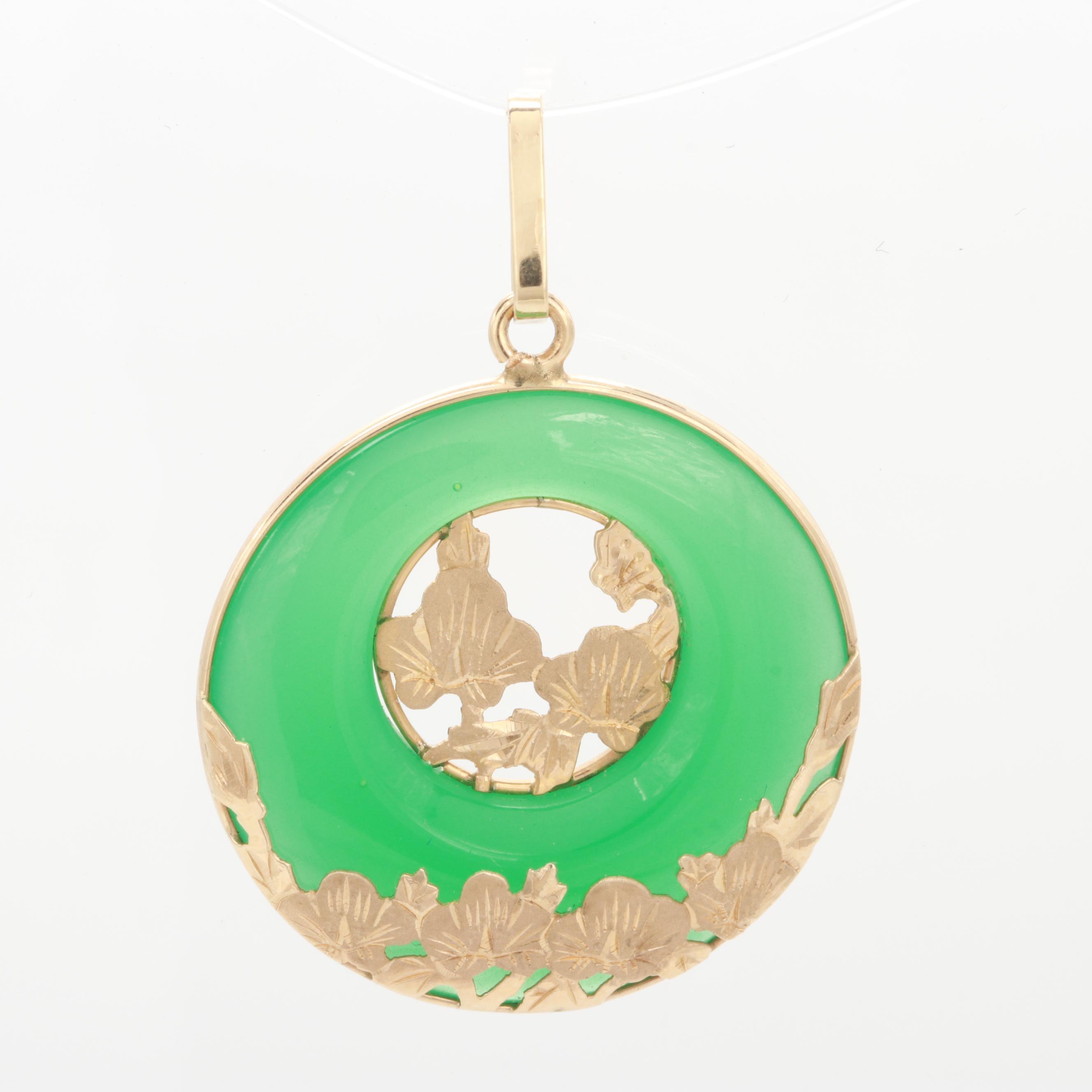 14K Yellow Gold Green Glass Pendant