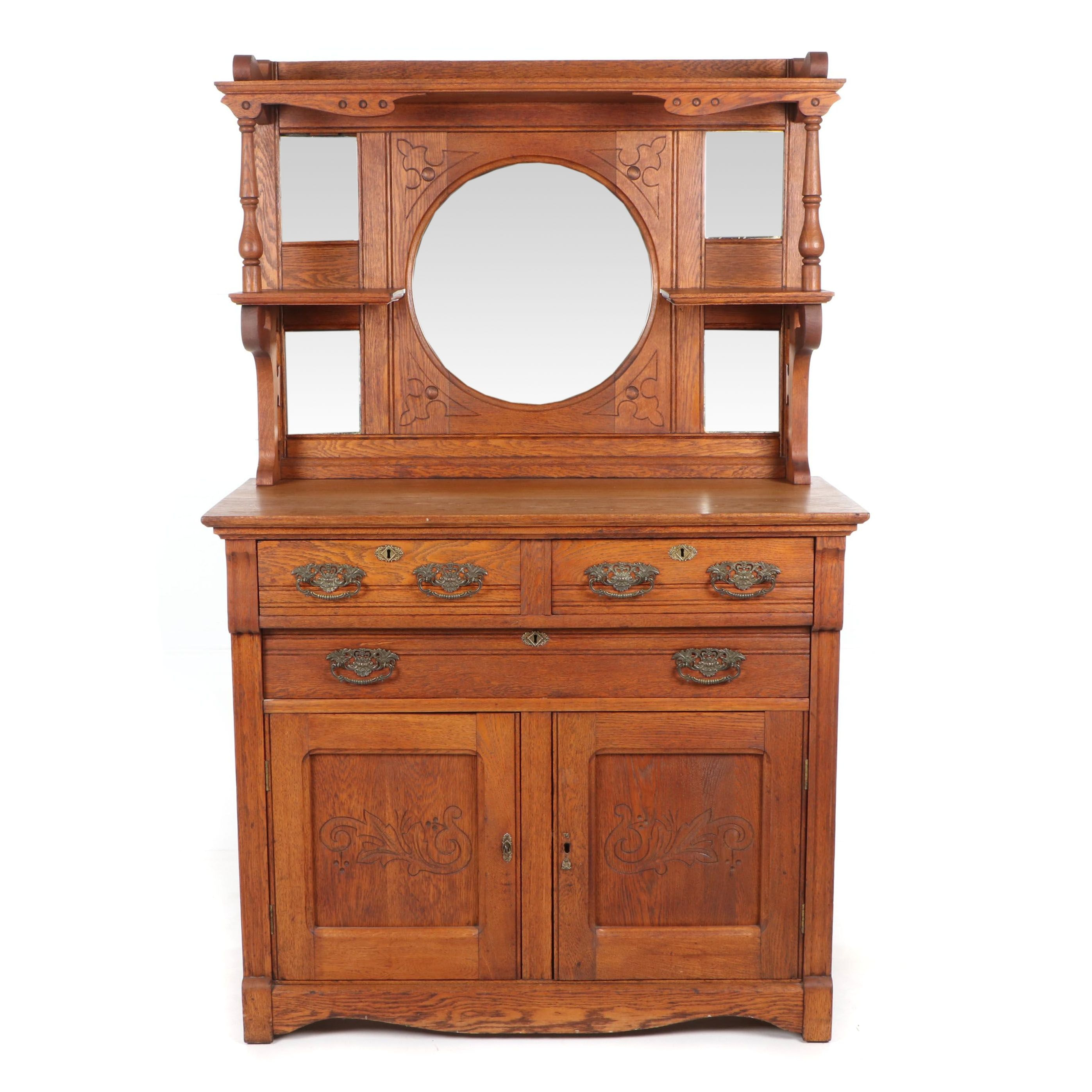 Victorian Oak Sideboard with Mirrored Gallery, Mid-19th Century