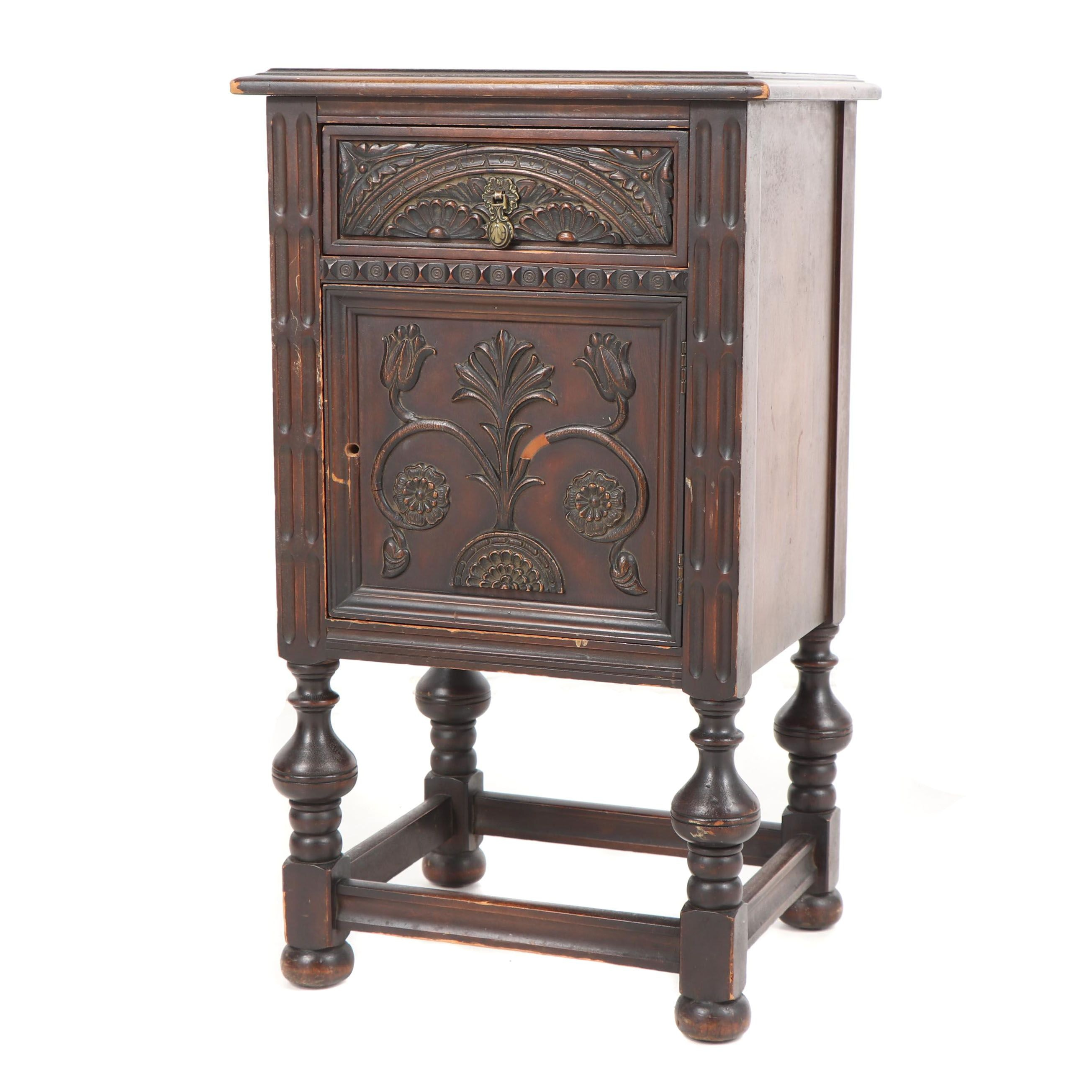Jacobean Revival Style Walnut Side Table, Early 20th Century