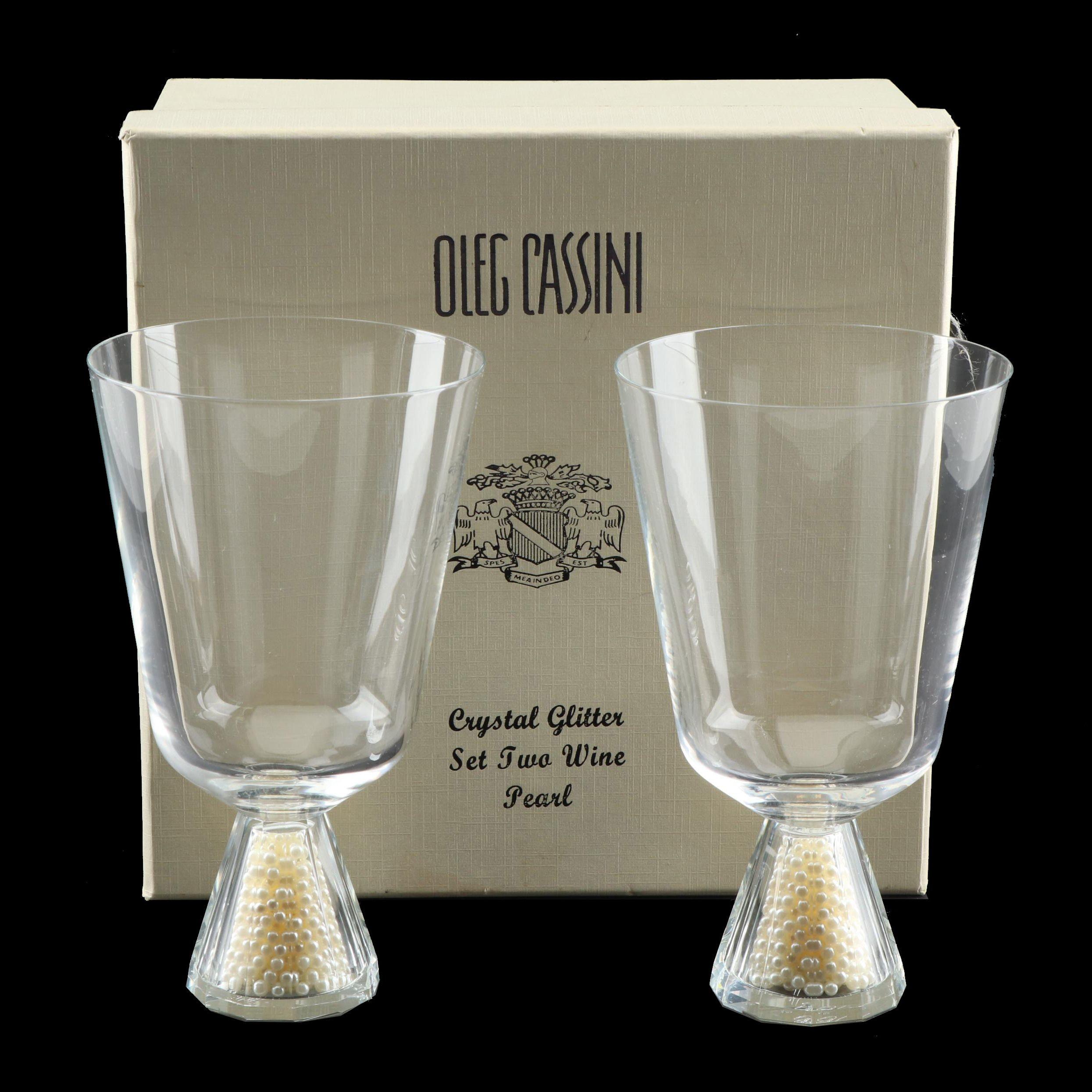 """Oleg Cassini """"Pearl"""" Crystal Wine Glasses"""
