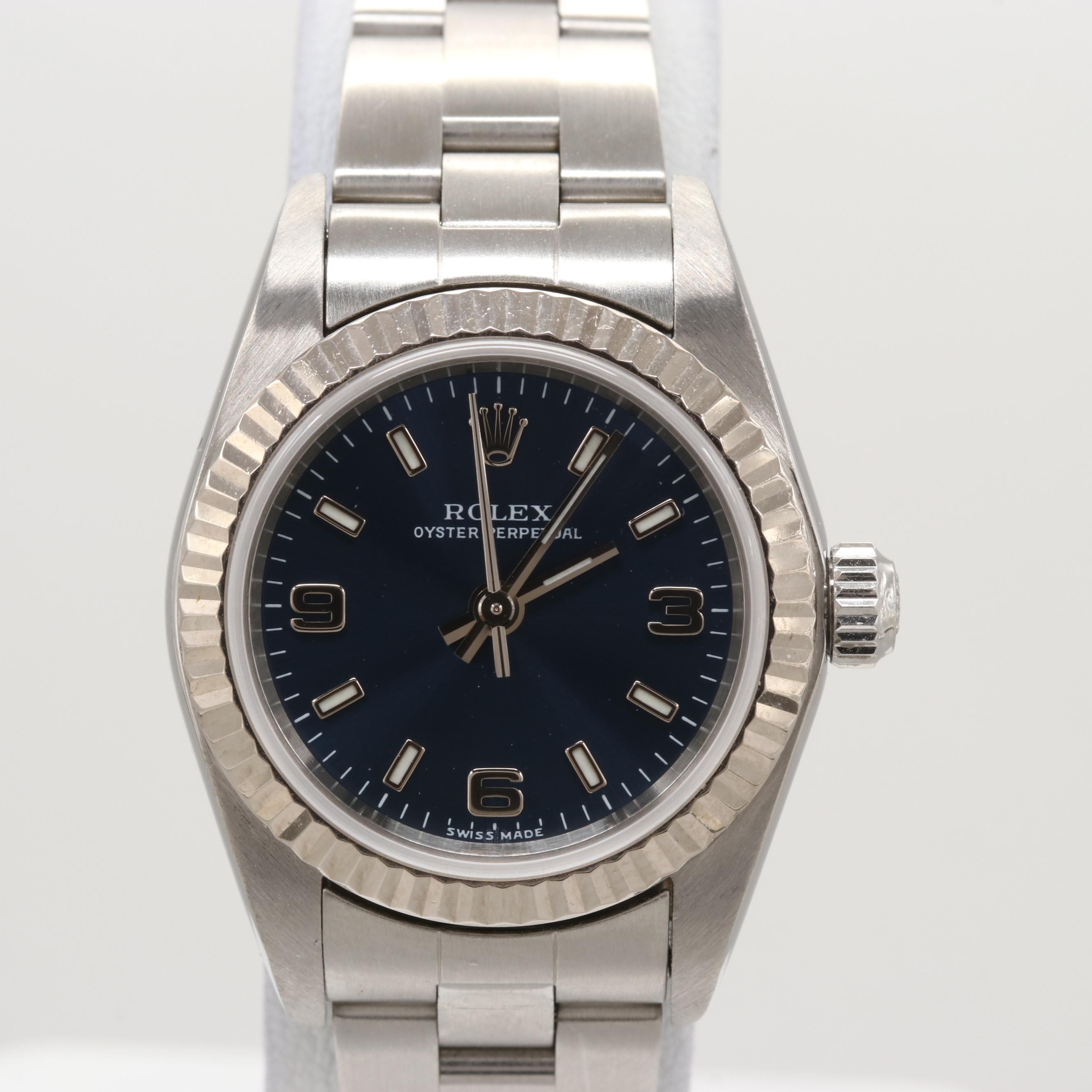 Rolex Oyster Perpetual Stainless Steel and 18K White Gold Wristwatch, 2002
