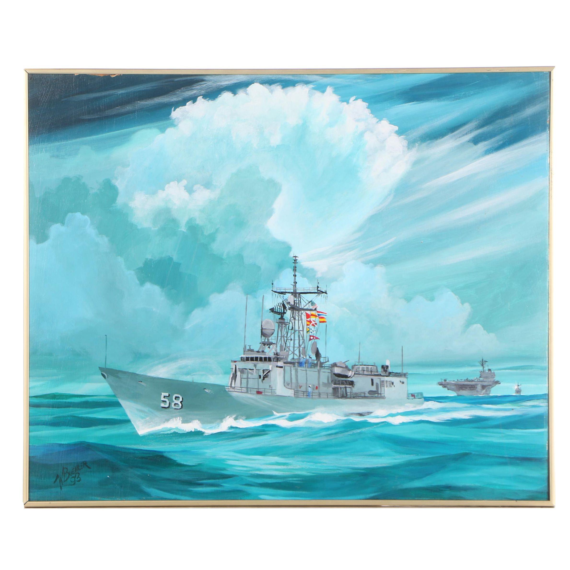 "William Buehler Oil Painting ""USS Samuel B. Roberts (FFG-58)"""