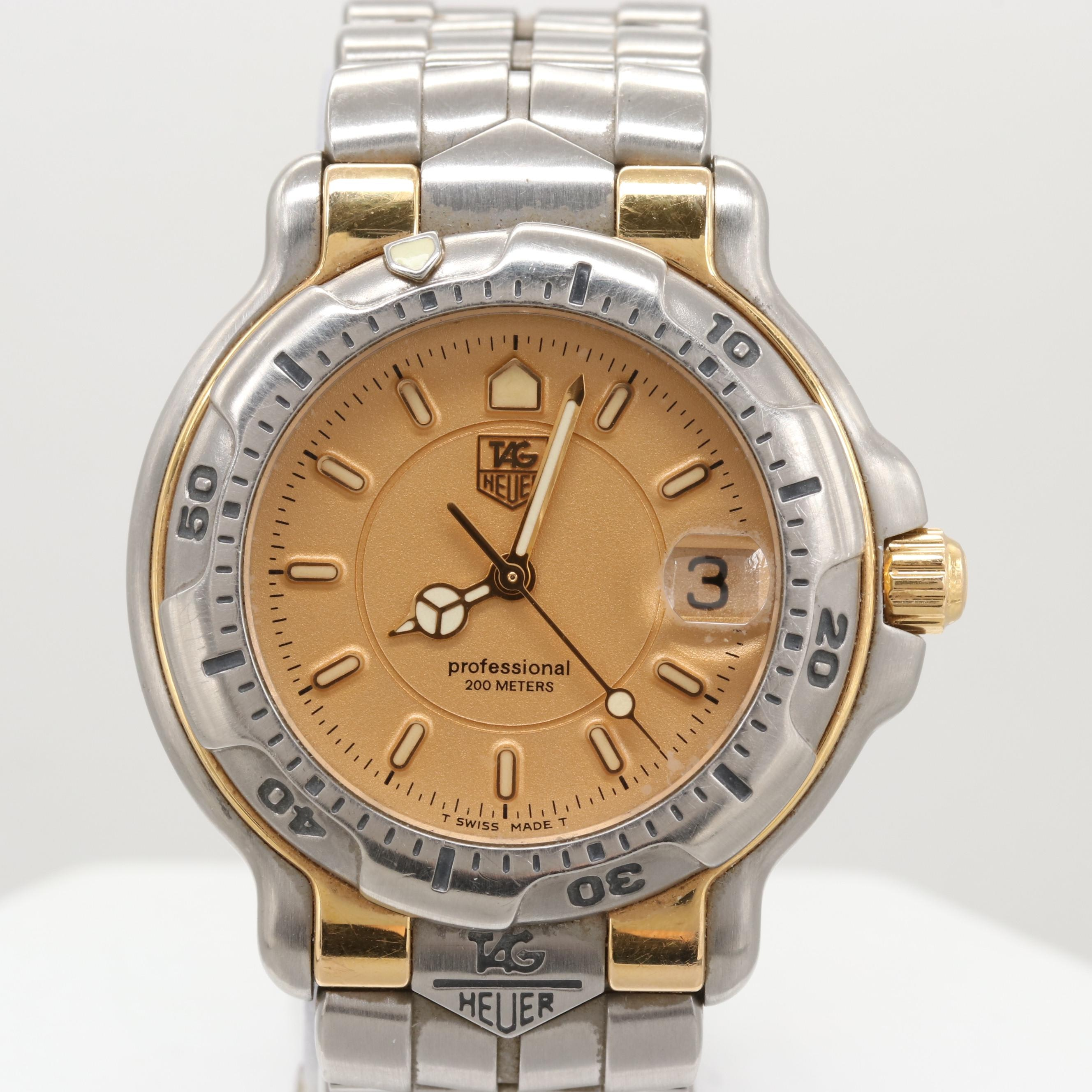 TAG Heuer Stainless Steel and 18K Yellow Gold 6000 Quartz Wristwatch