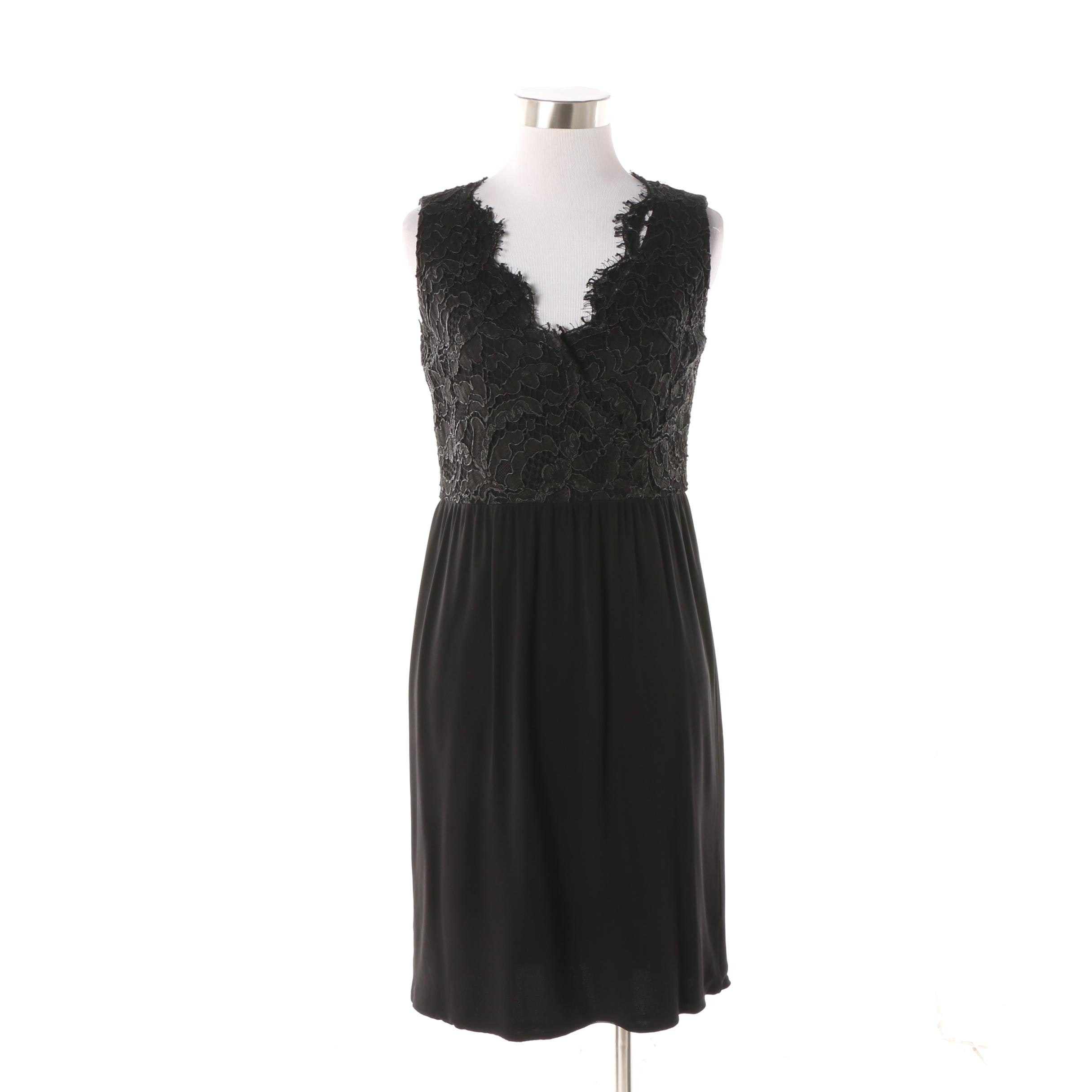 Gucci Black Lace Bodice Sleeveless Cocktail Dress