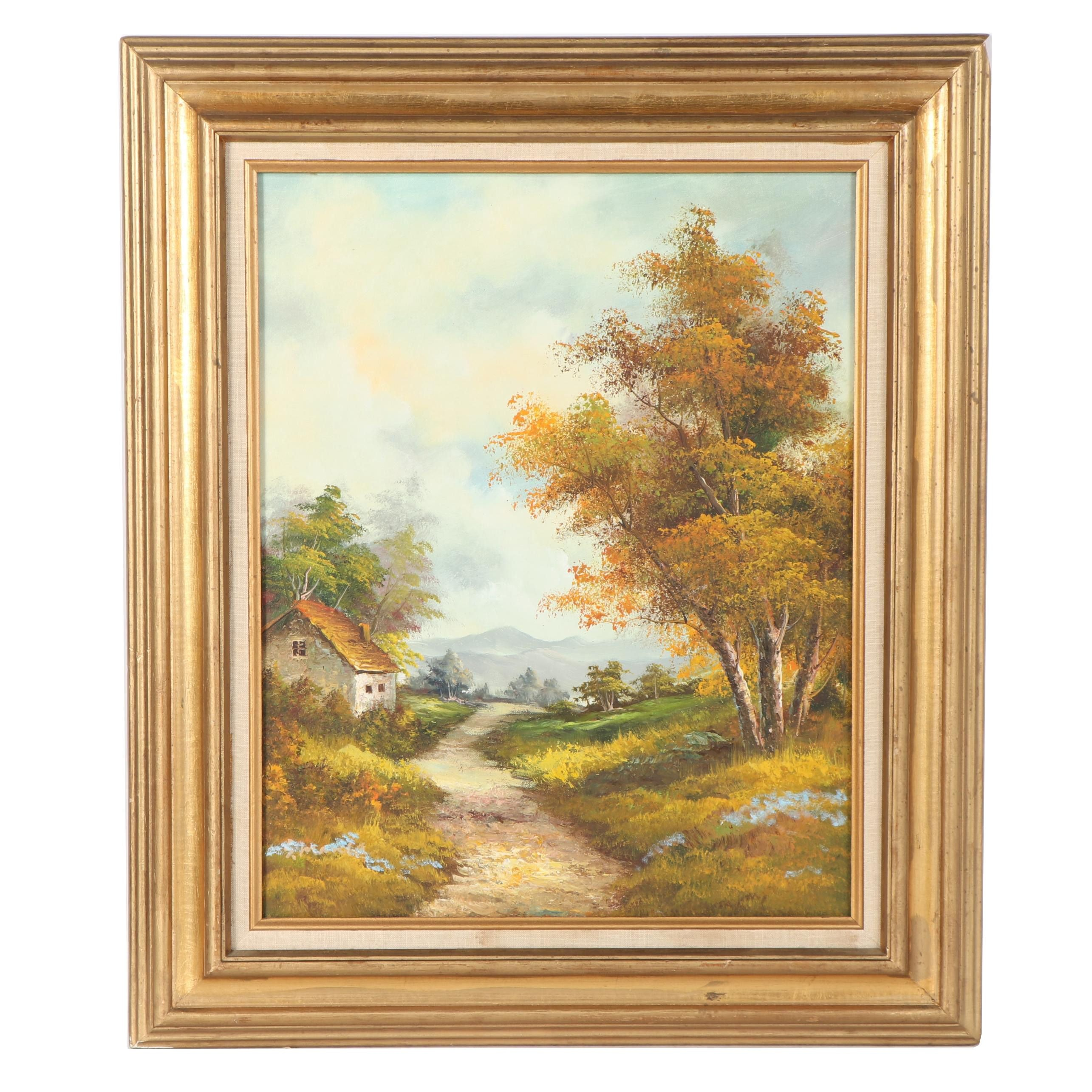 Oil Painting of Rural Landscape