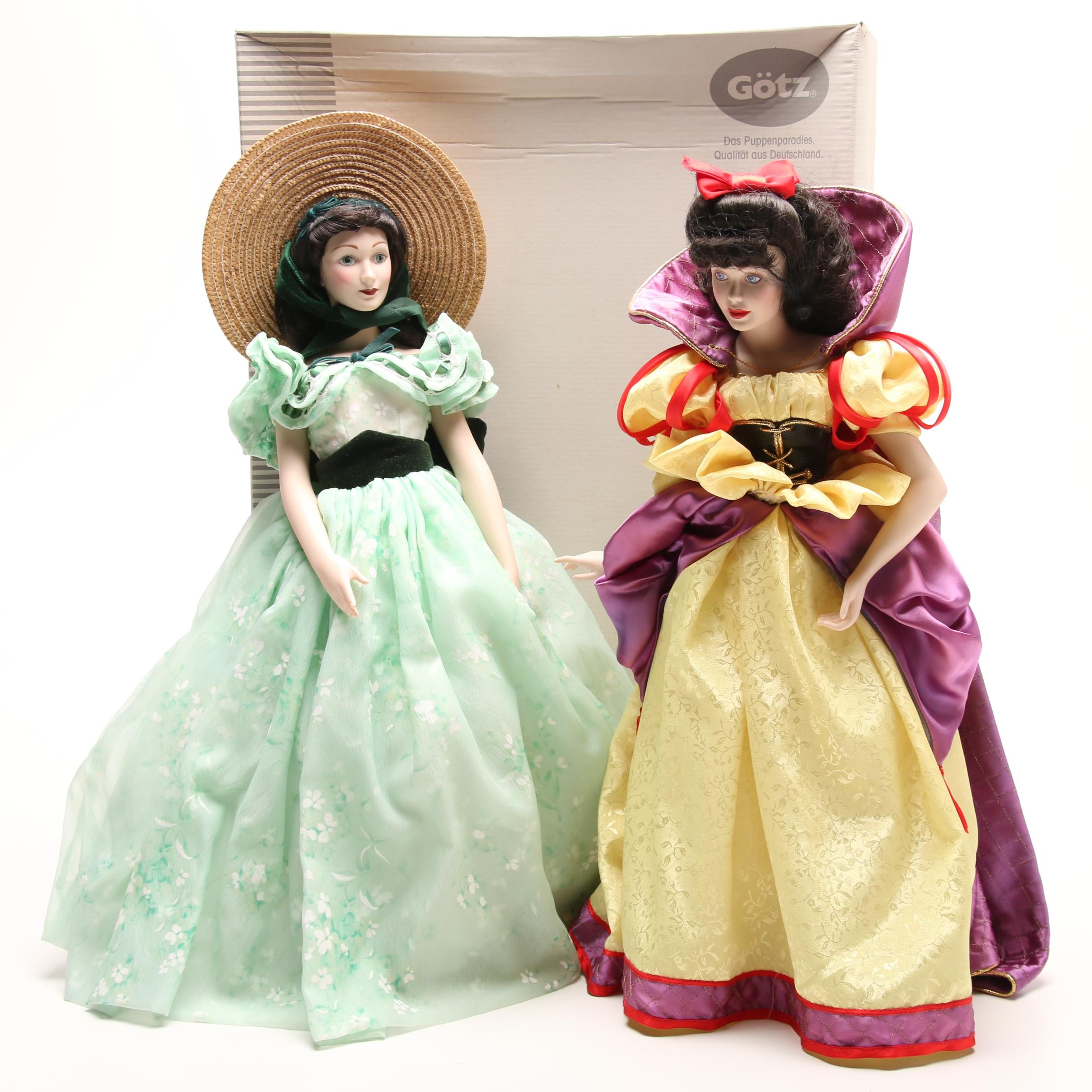 """Franklin Heirloom Collection """"Snow White"""" and """"Scarlet O'Hara"""" Dolls"""