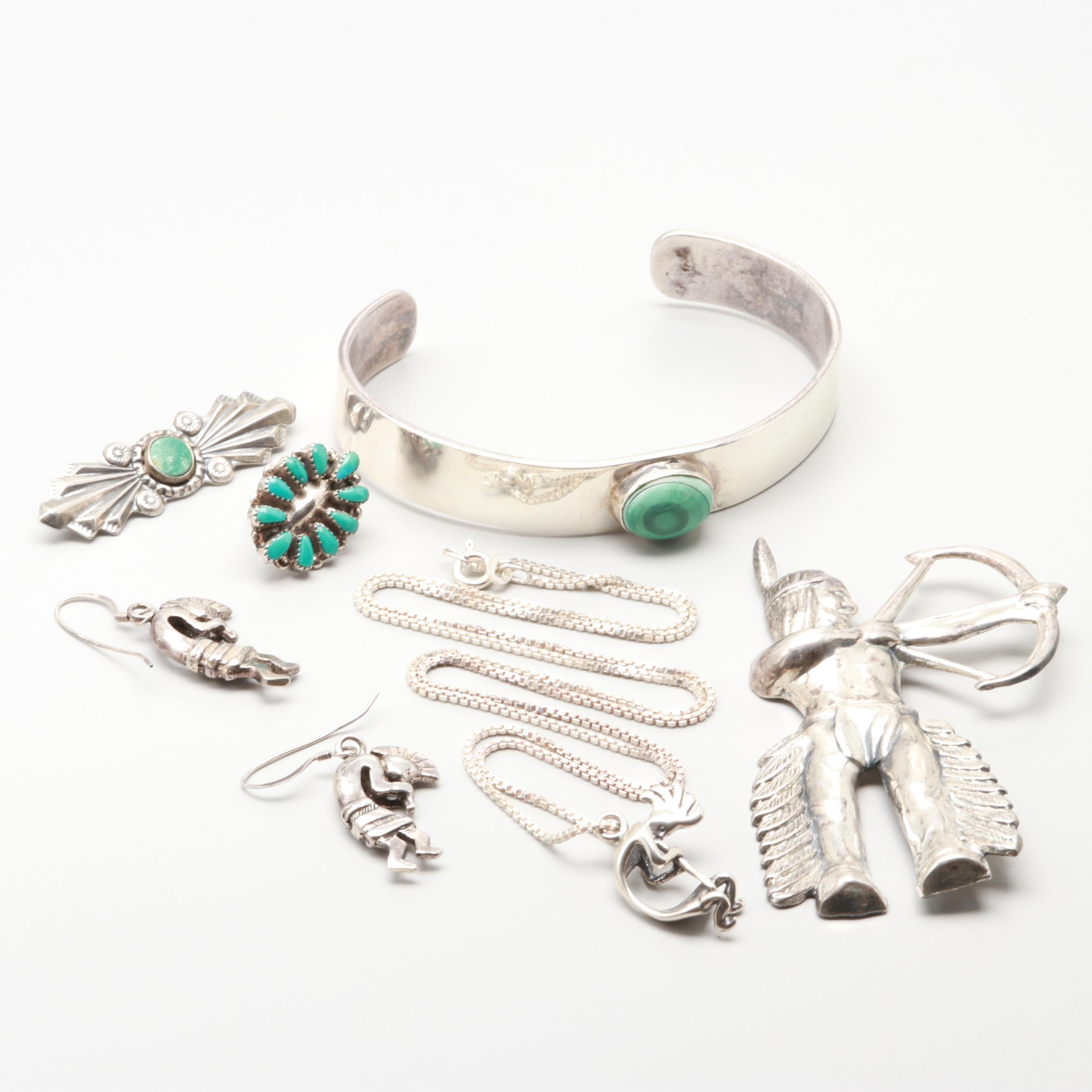 Sterling Silver Jewelry Assortment Including Glass and Turquoise