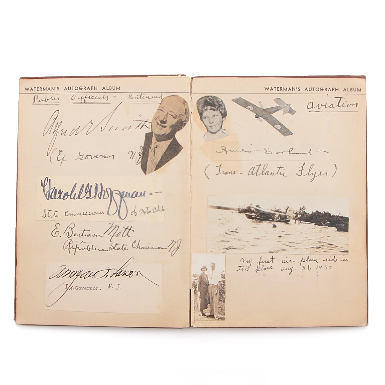 Waterman's Autograph Album with Amelia Earhart, FDR, Hoover and Calvin Coolidge