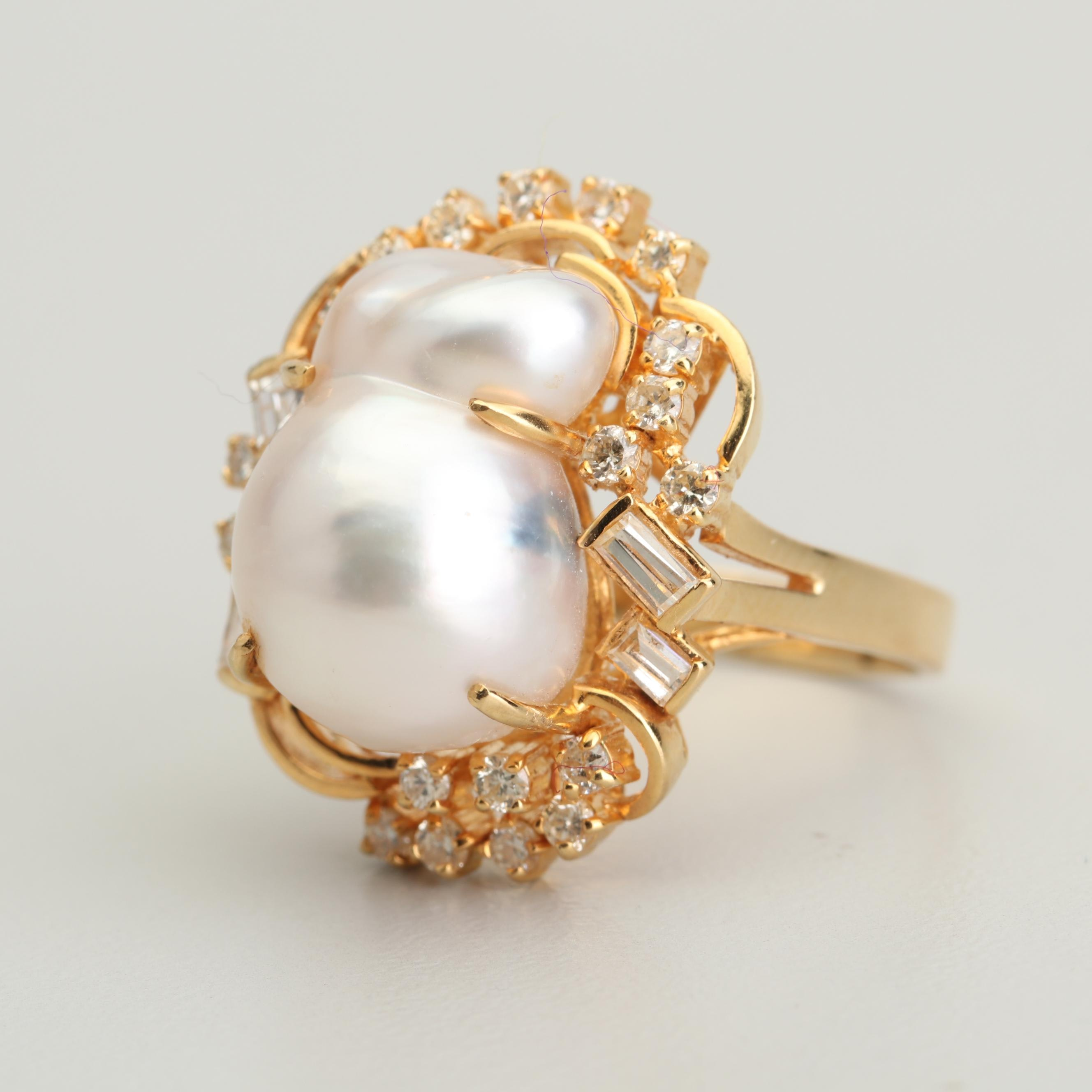 18K Yellow Gold Freshwater Cultured Pearl and Diamond Ring