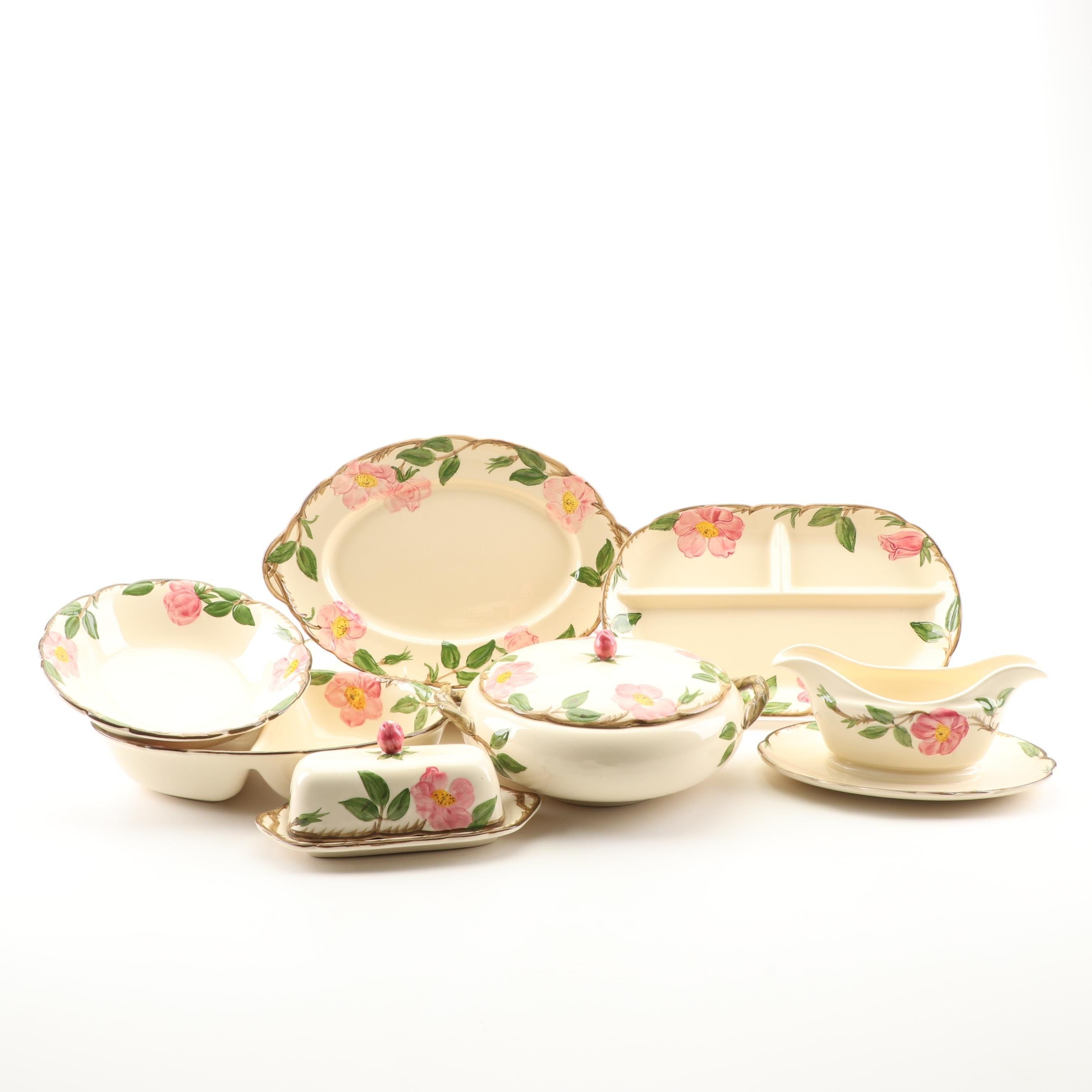 """Circa 1960s Franciscan """"Desert Rose"""" Ceramic Serveware Pieces"""