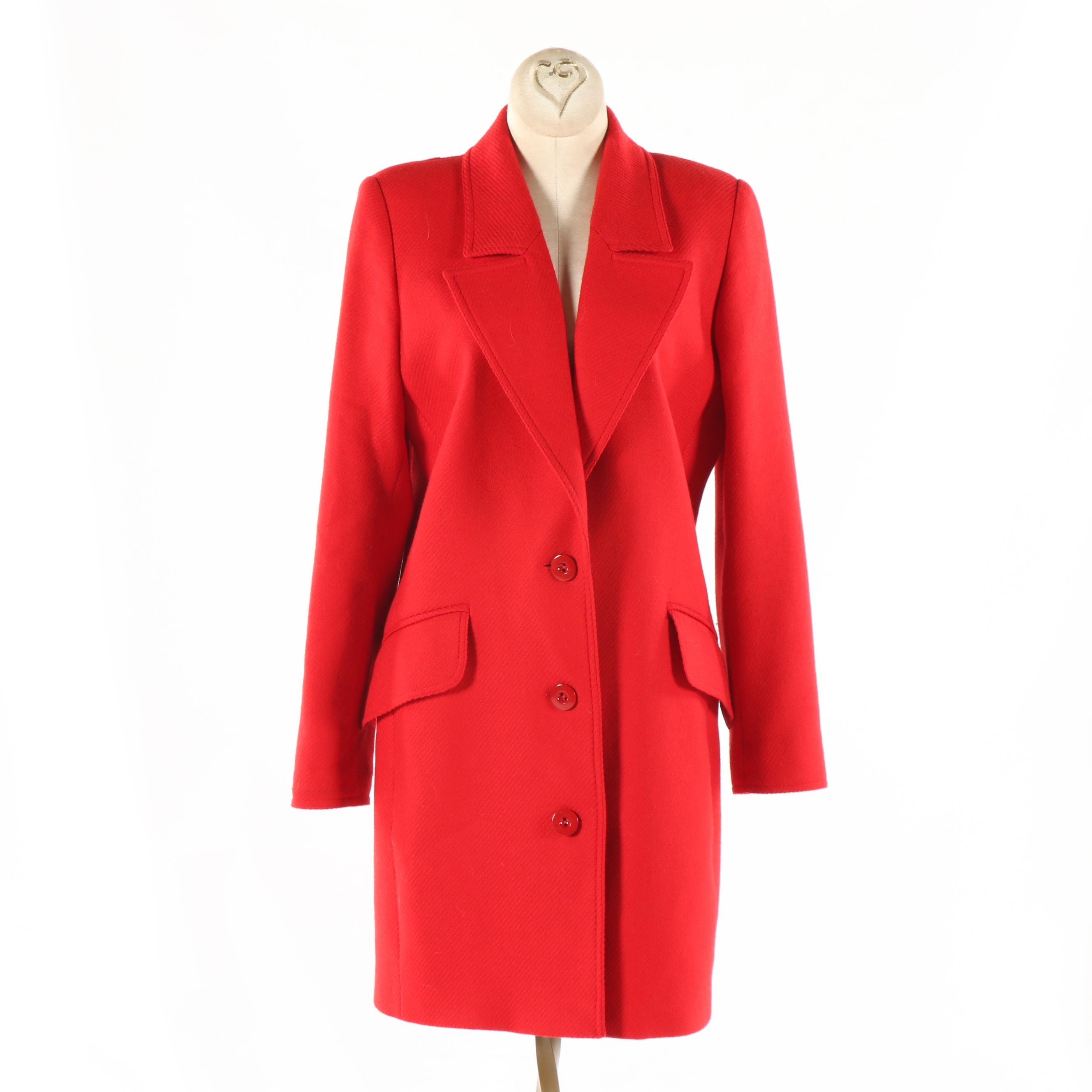 Women's Vintage Valentino Miss V Red Wool Button-Front Coat