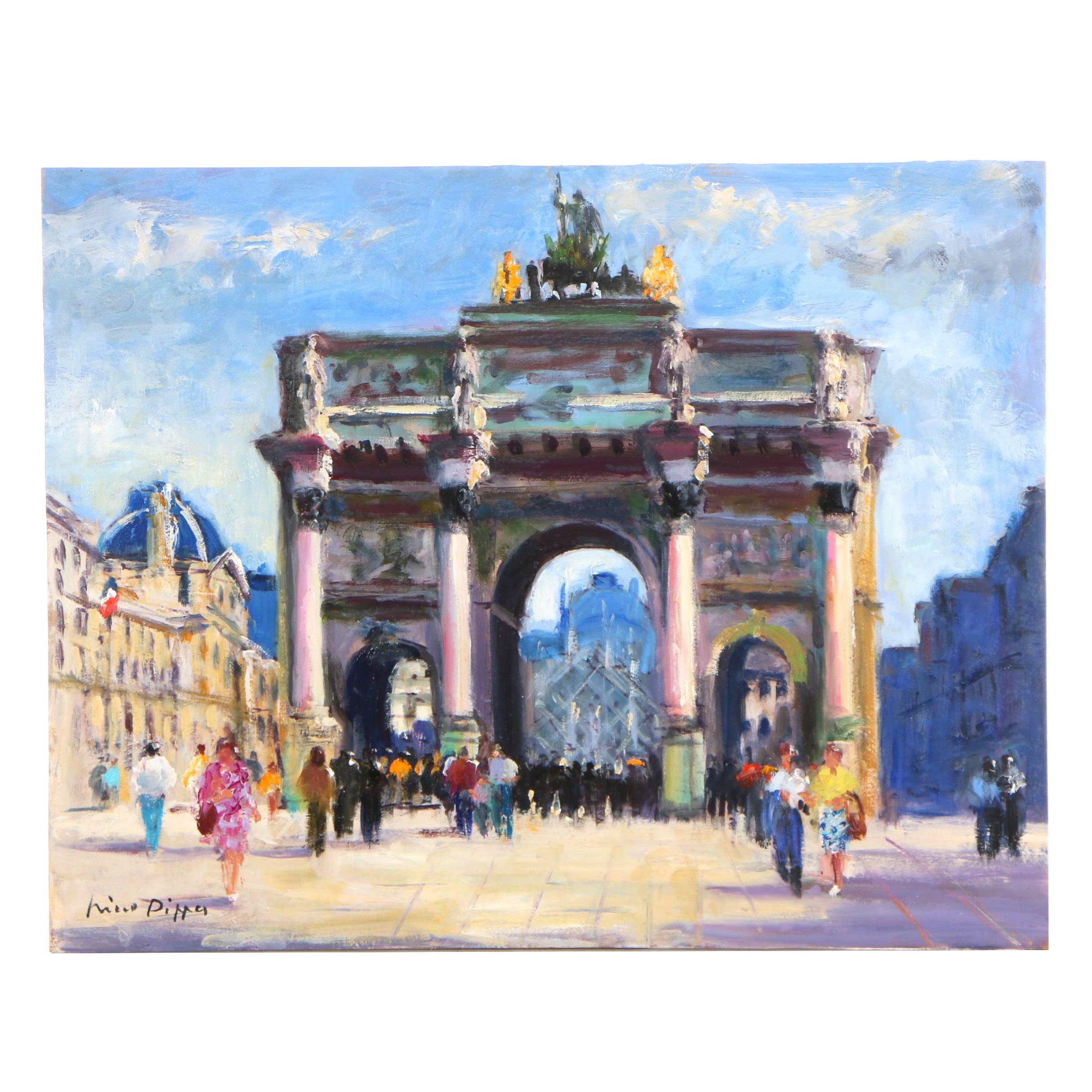 """Nino Pippa Oil Painting """"Paris - Arc de Triomphe du Carrousel"""""""