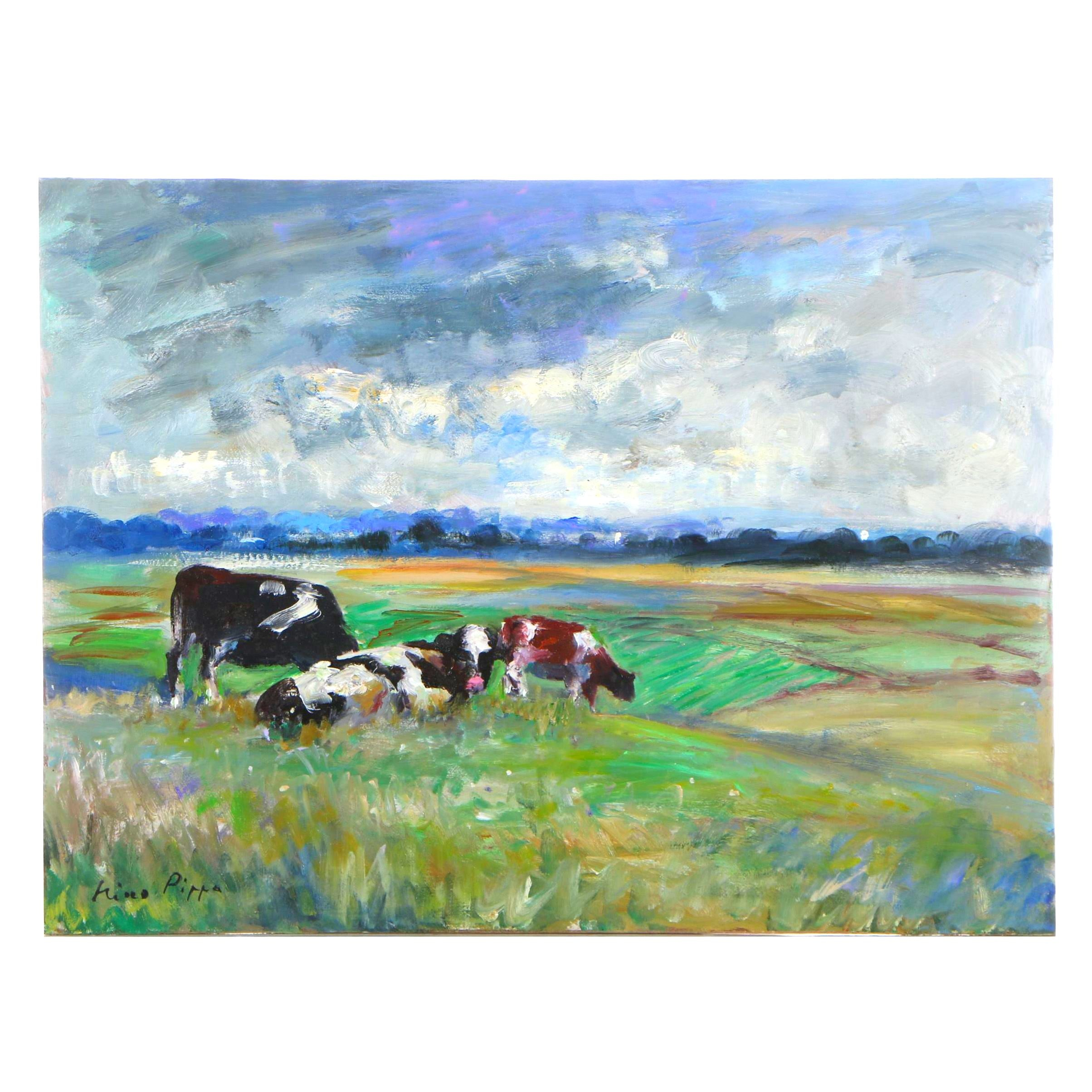 """Nino Pippa Oil Painting """"France - Cattle on the Oise Valley"""""""