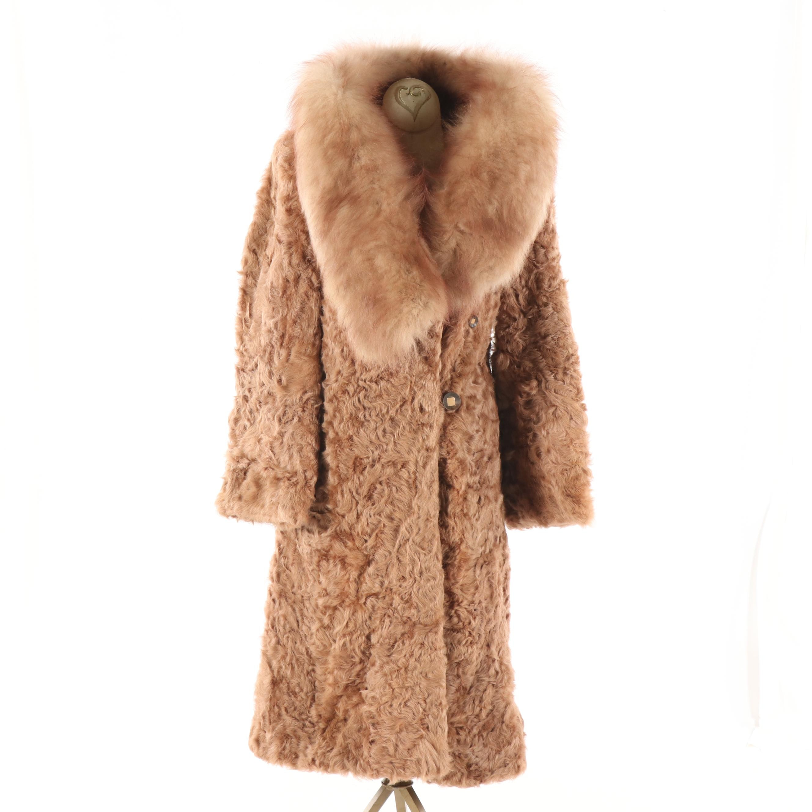 1960s Vintage J.B. Ivey & Co. Tan Persian Lamb Coat with Fur Shawl Collar