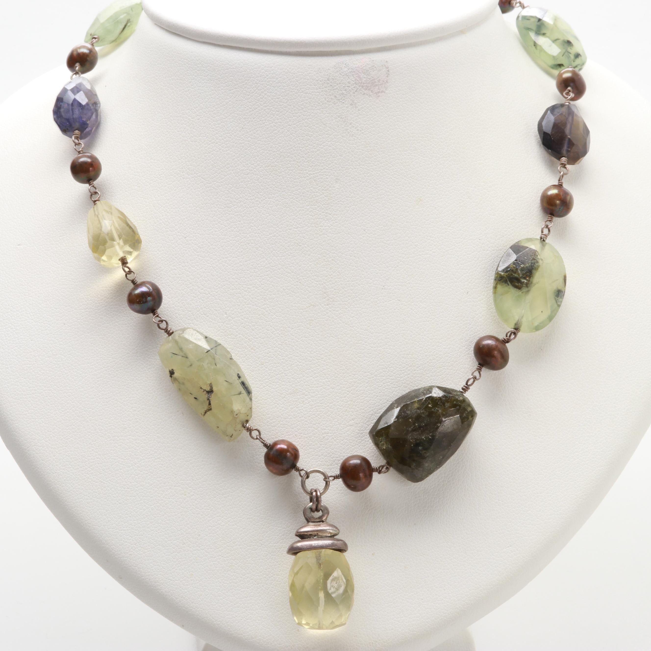 Sterling Silver Tourmalinated Quartz, Cultured Pearl and Amethyst Necklace