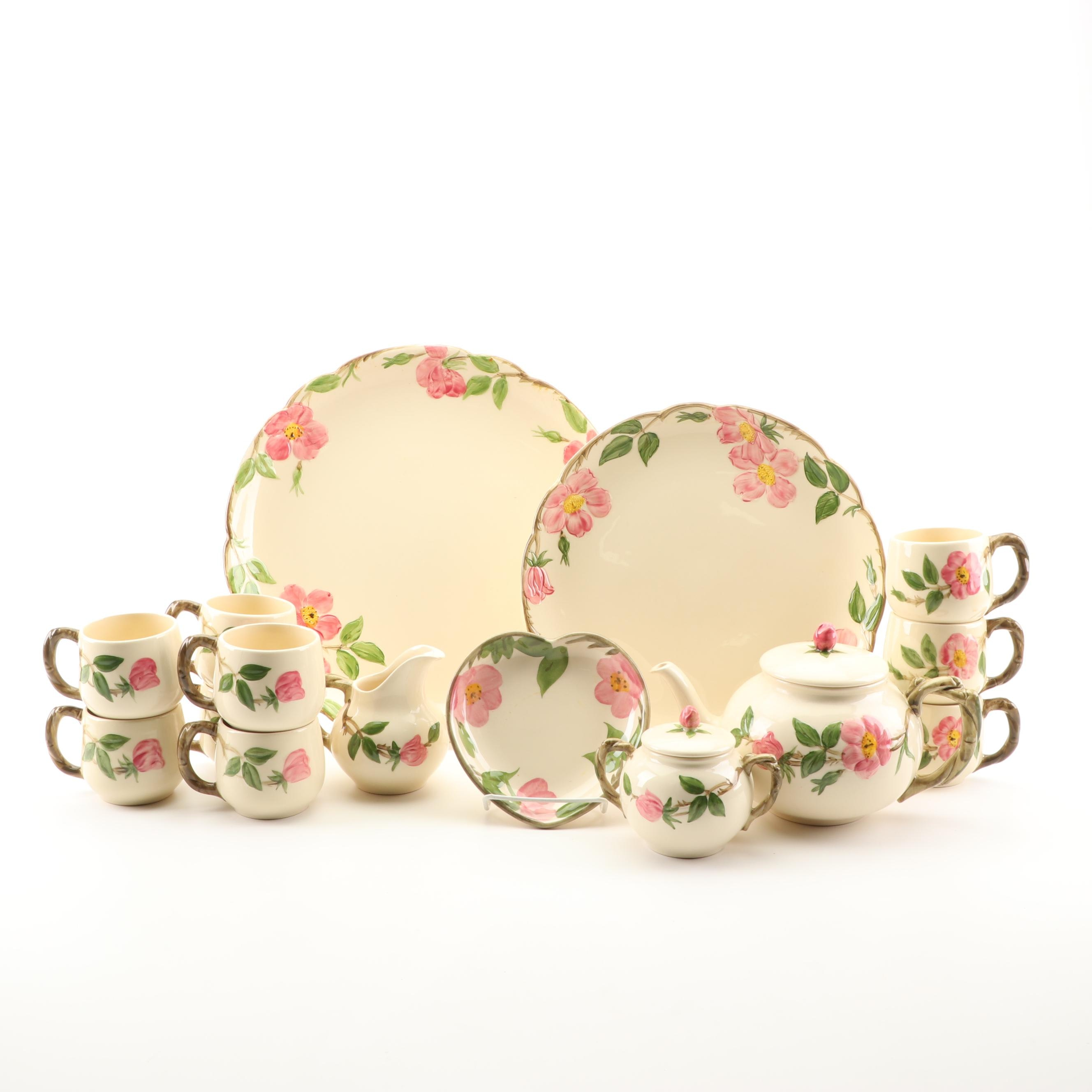 """1960s Franciscan """"Desert Rose"""" Tableware with Contemporary Heart Bonbon Dish"""