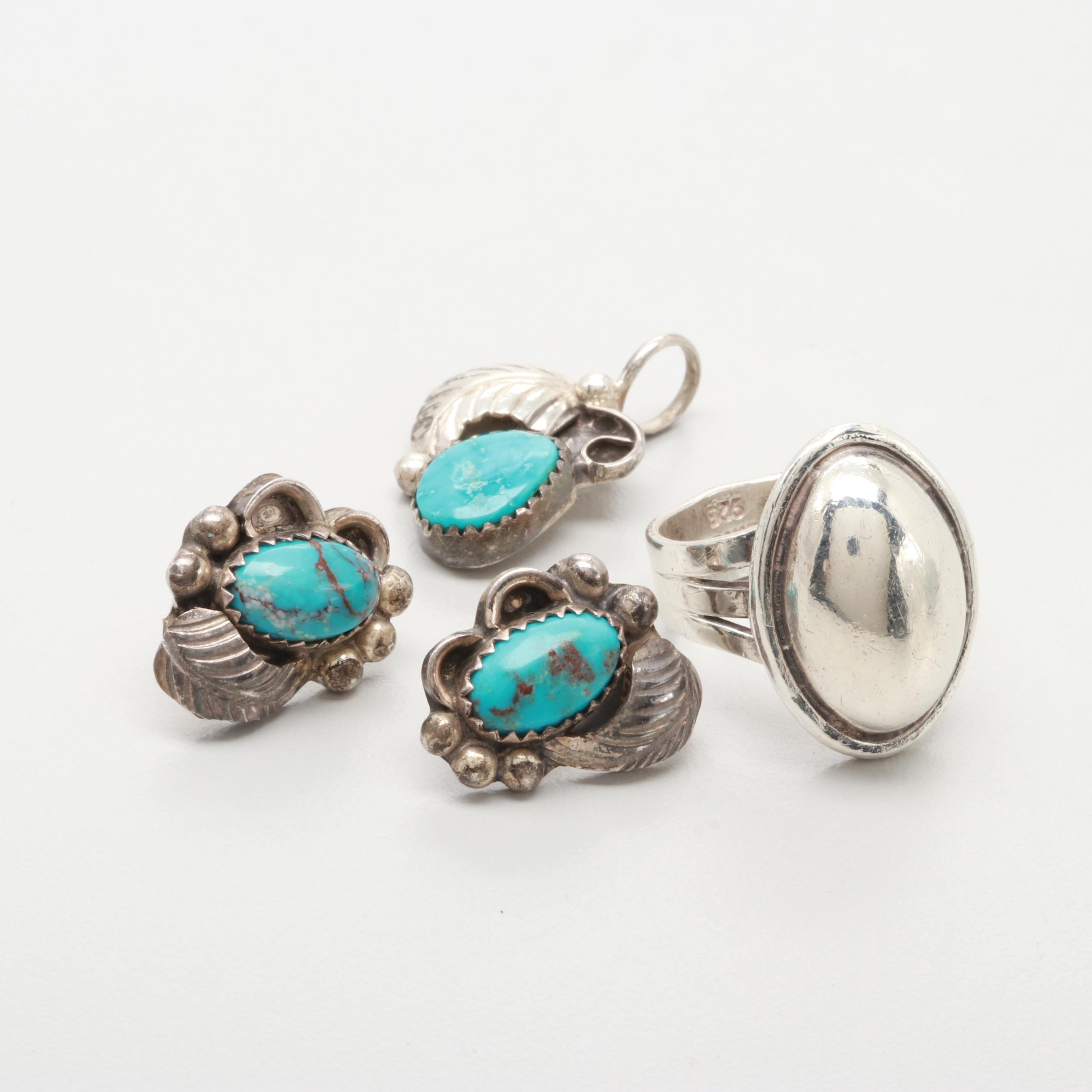 Sterling Silver Jewelry with Angeline Miller Navajo Diné Turquoise Earrings