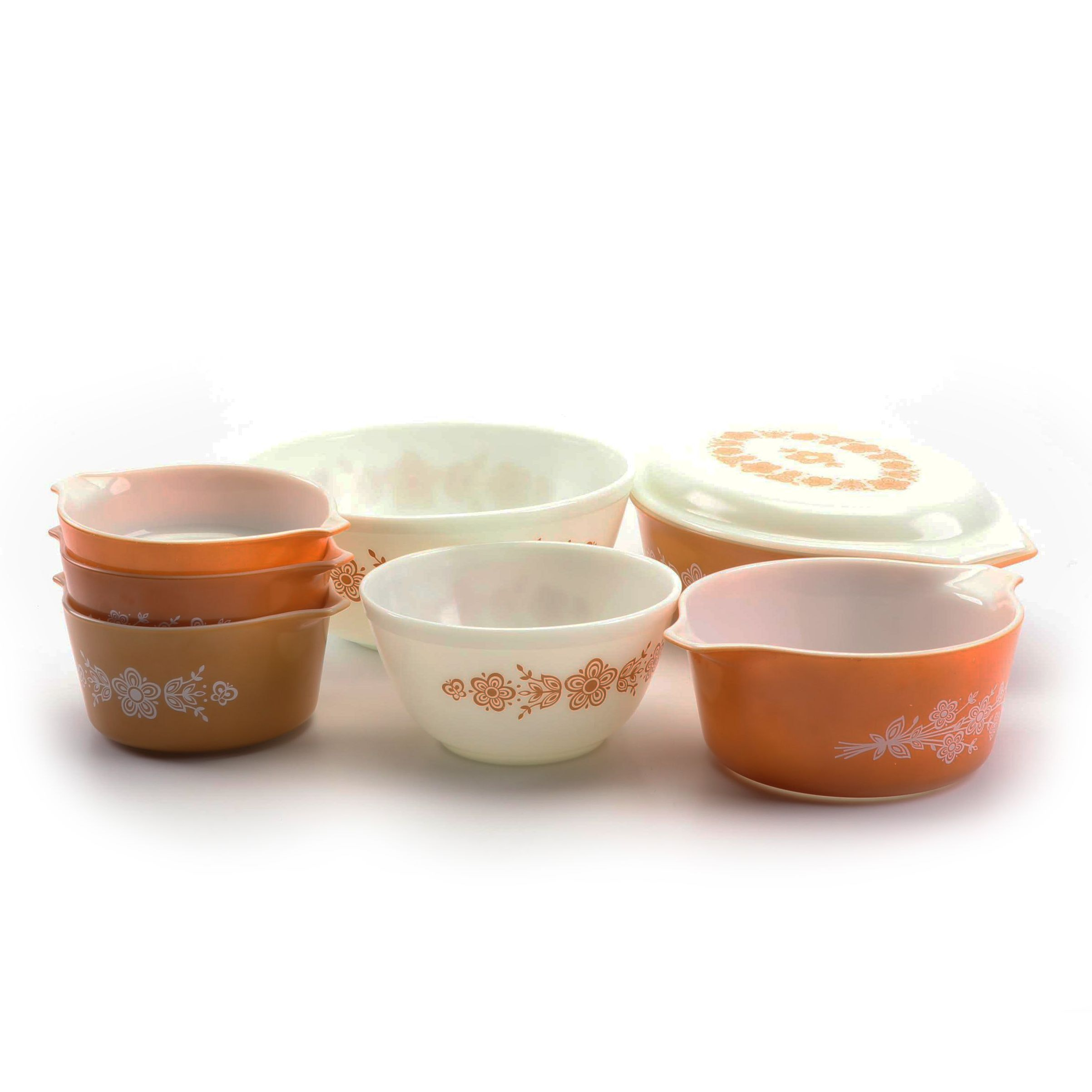 "Pyrex ""Butterfly Gold"" Glass Bakeware and Mixing Bowls, 1972-78"