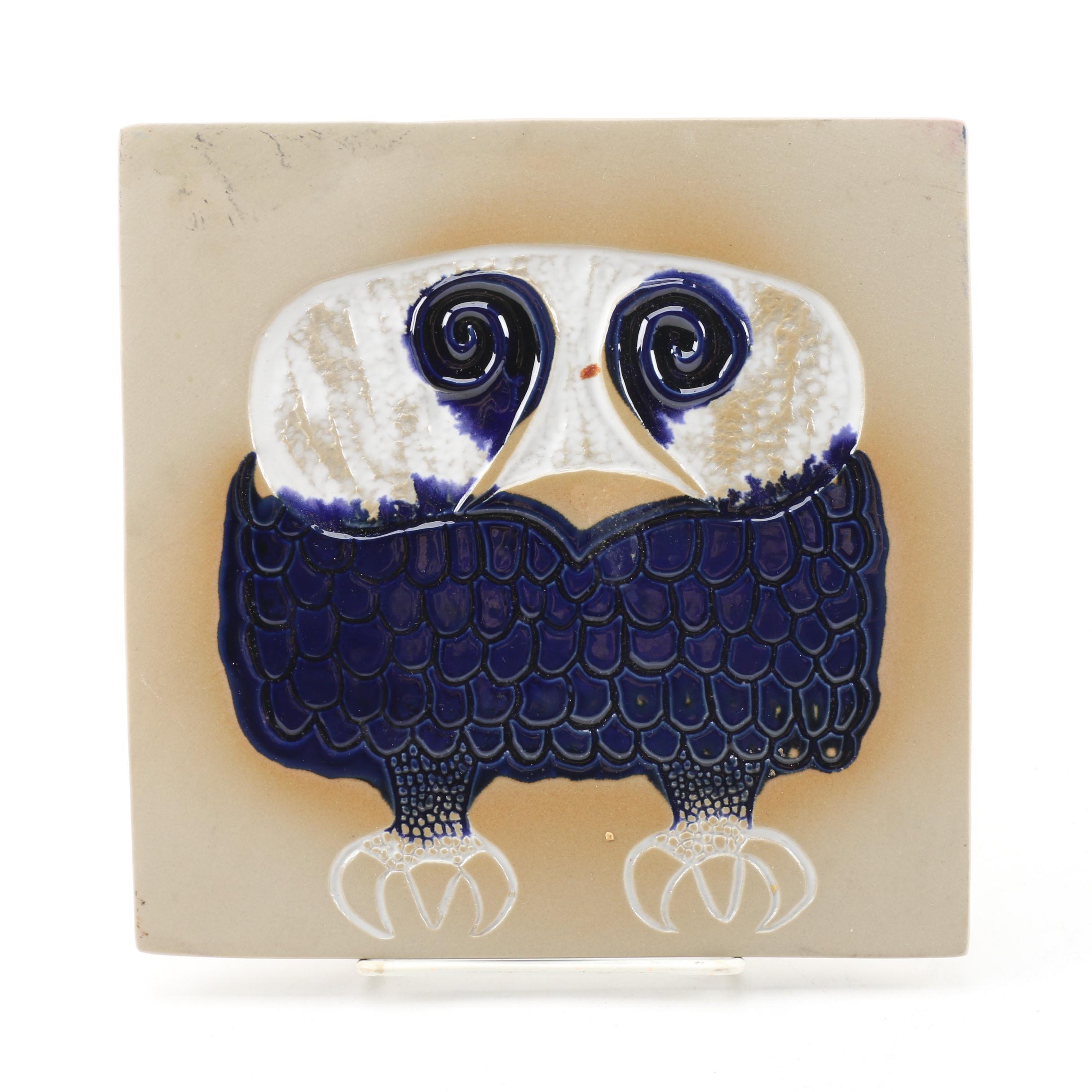 Bennington Potters Cooperative Design Owl Ceramic Trivet