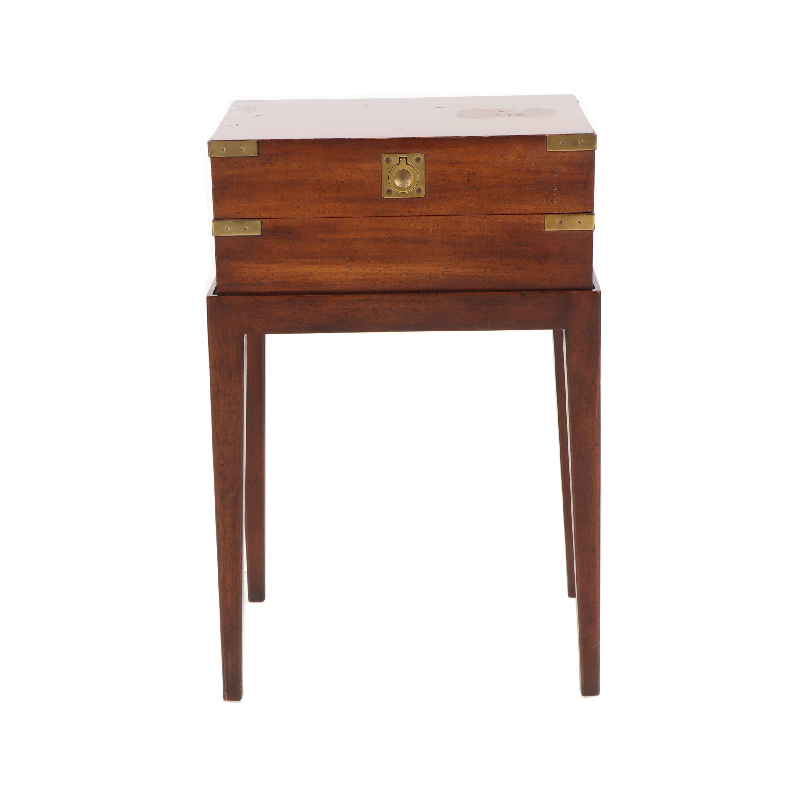 Campaign Style Walnut Chest on Stand End Table by Henredon, 20th Century