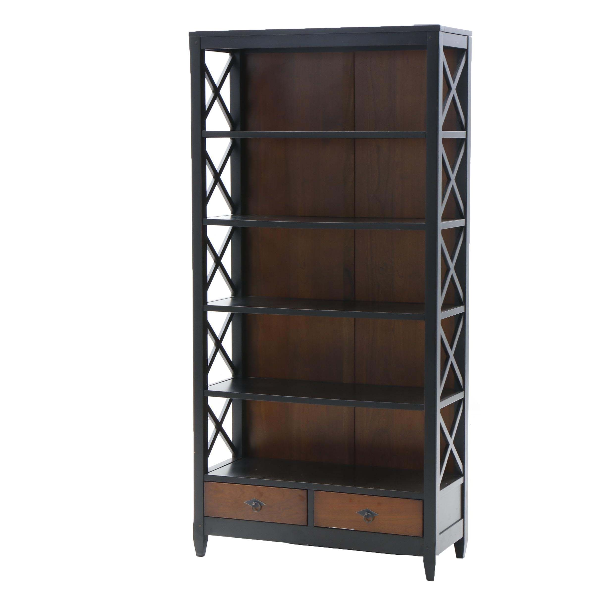 Contemporary Painted Wood Bookcase with Lattice Sides by Arhaus