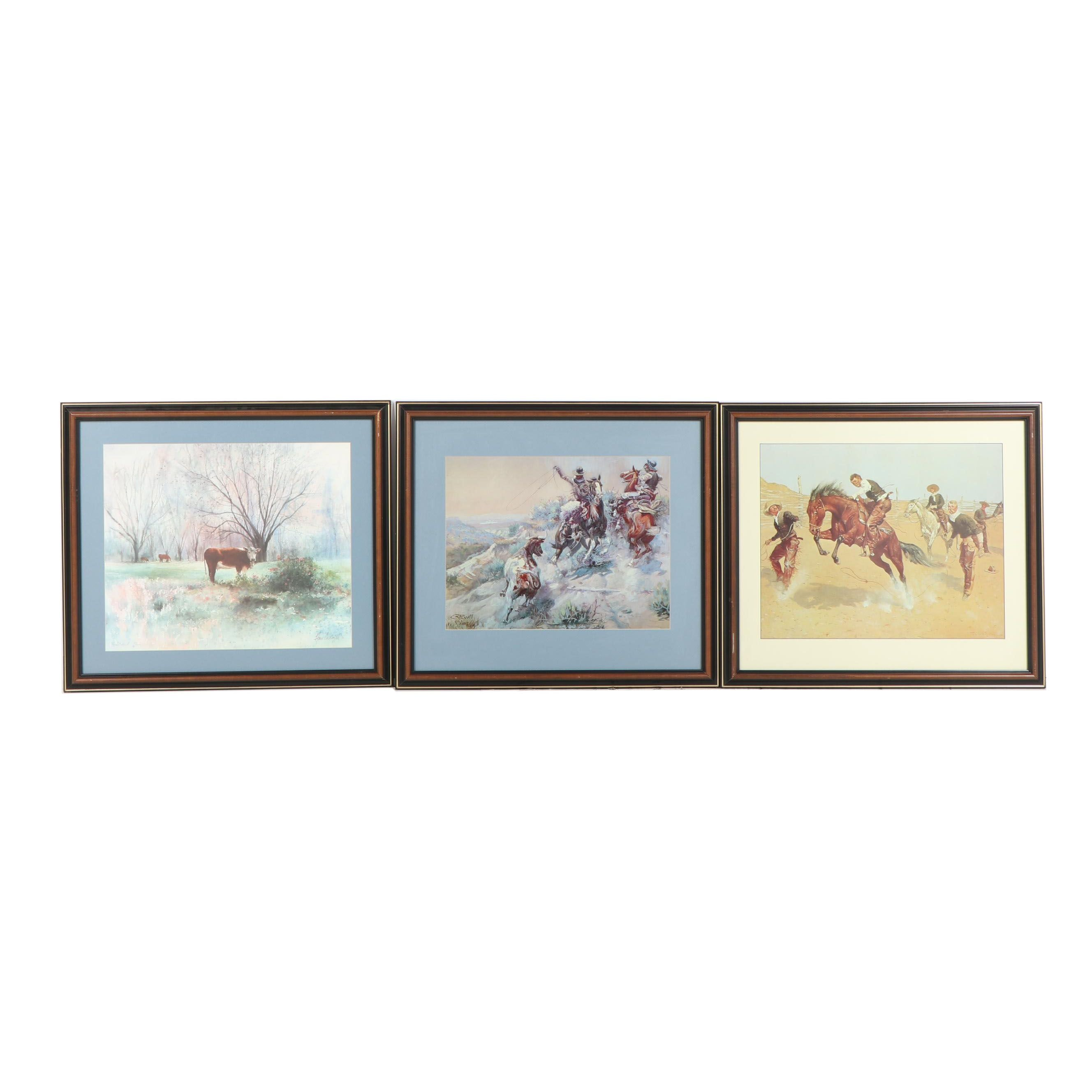 Western Themed Offset Lithographs Including after Fredric Remington
