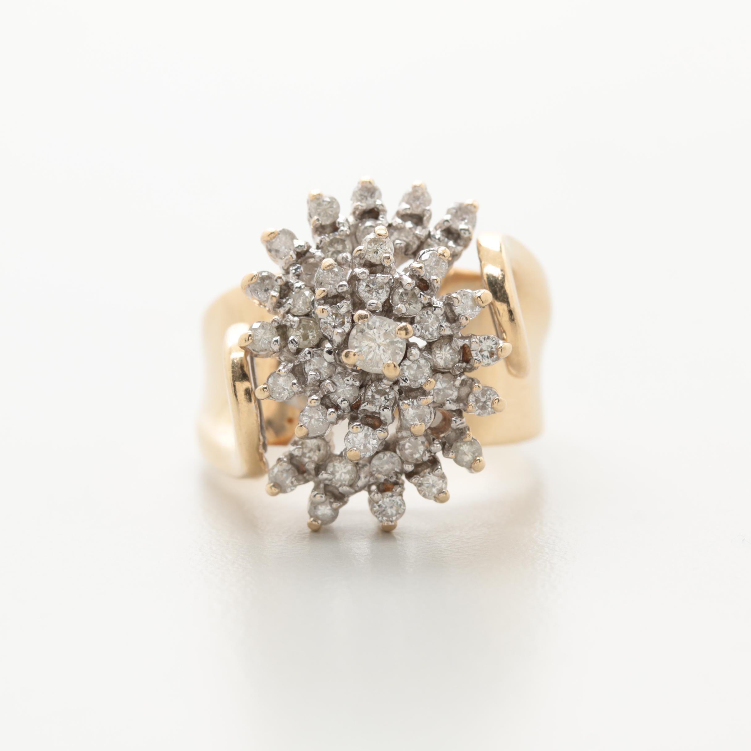14K Yellow Gold 0.74 CTW Diamond Ring