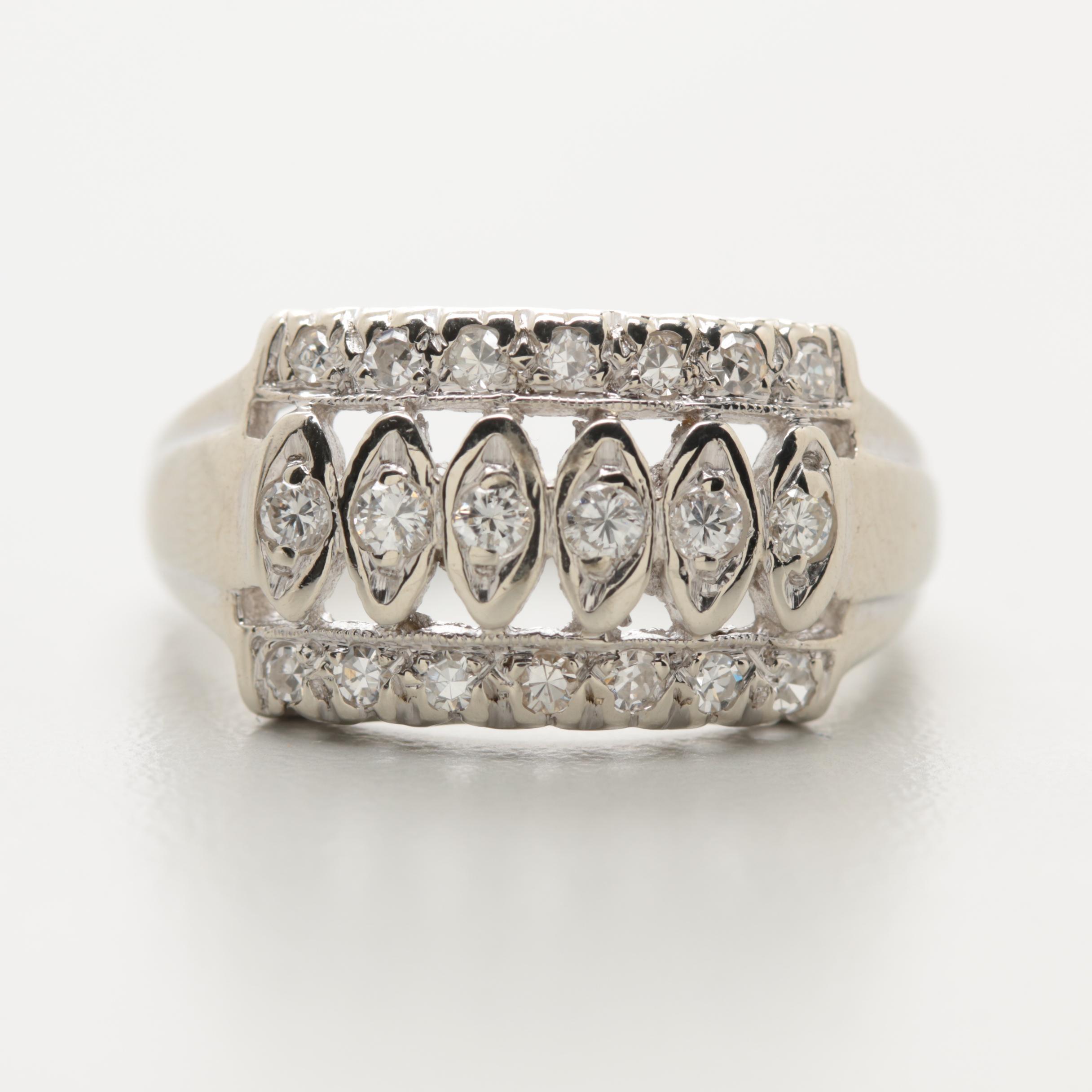 14K White Gold 0.33 CTW Diamond Ring