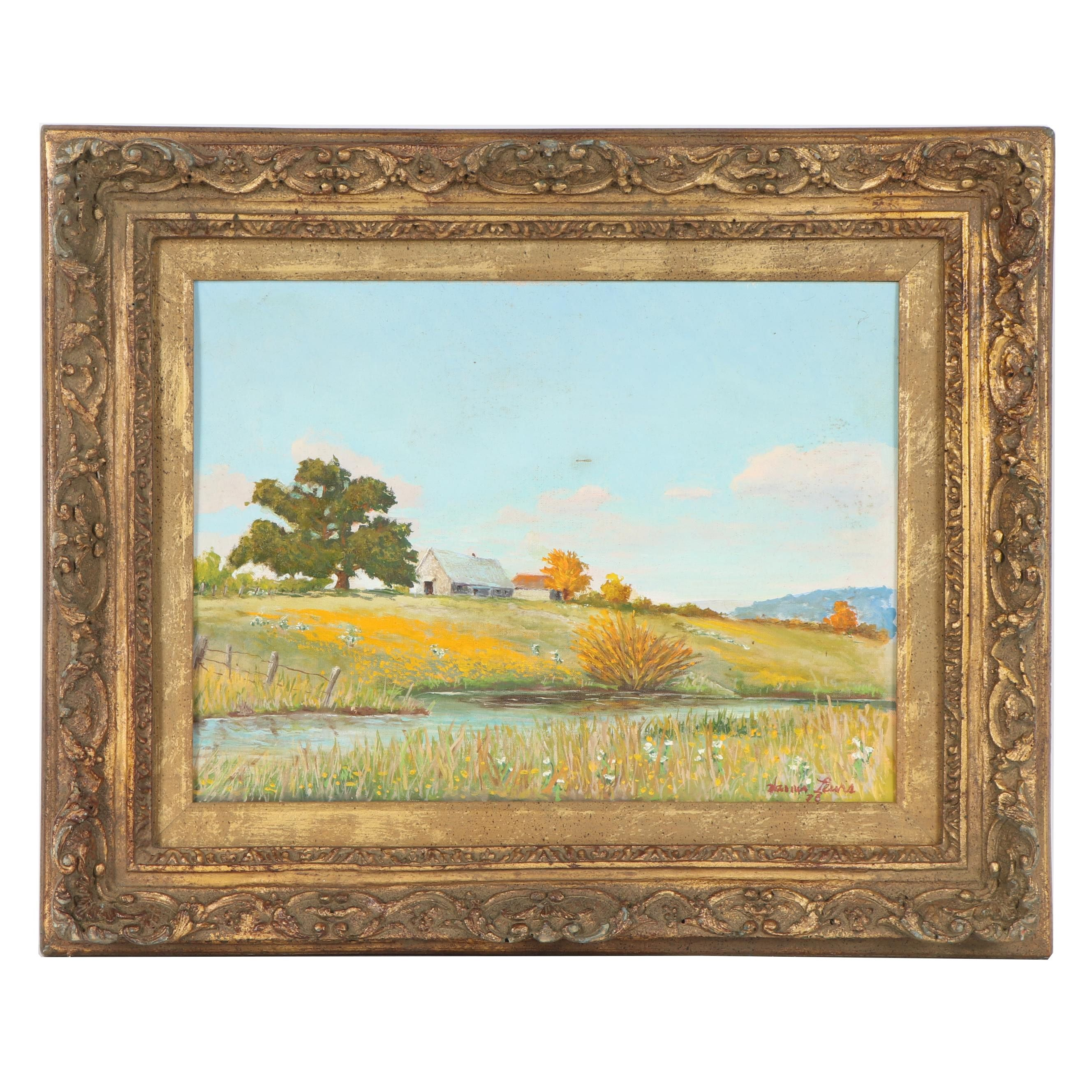 Warner Lewis Oil Painting of Rural Landscape