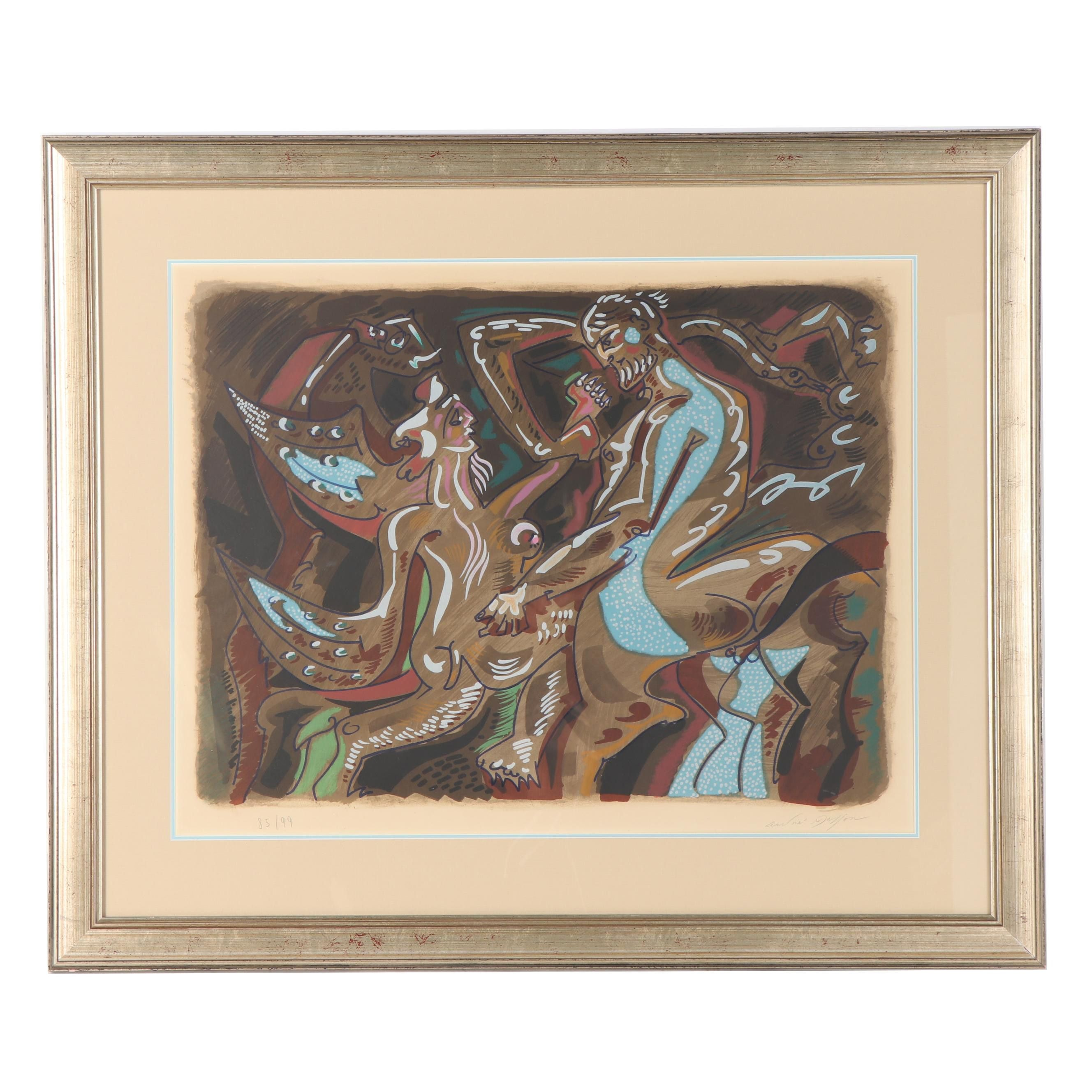 "André Masson Color Lithograph ""Adam and Eve"""