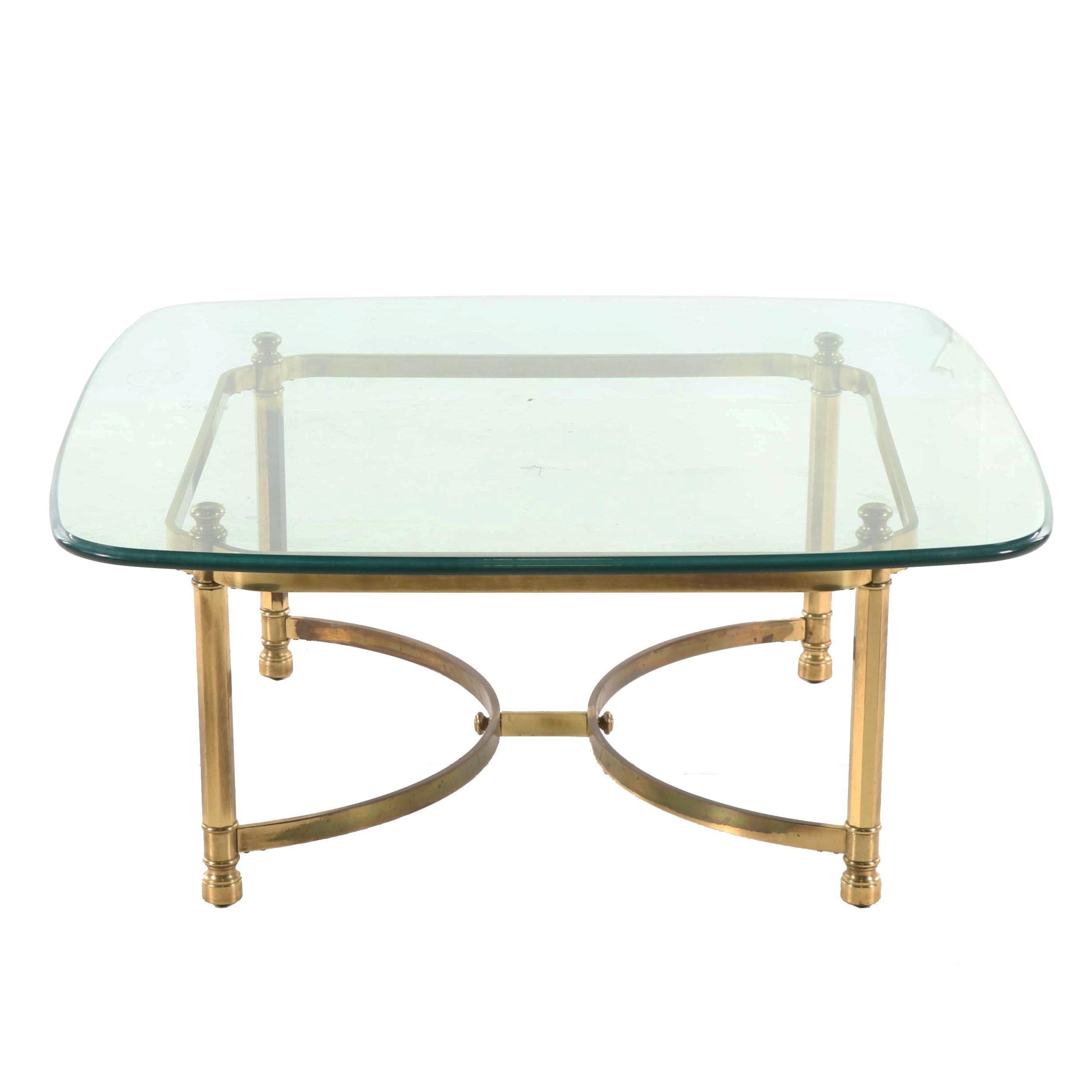 Hollywood Regency Style Brass and Glass Coffee Table, Late 20th Century