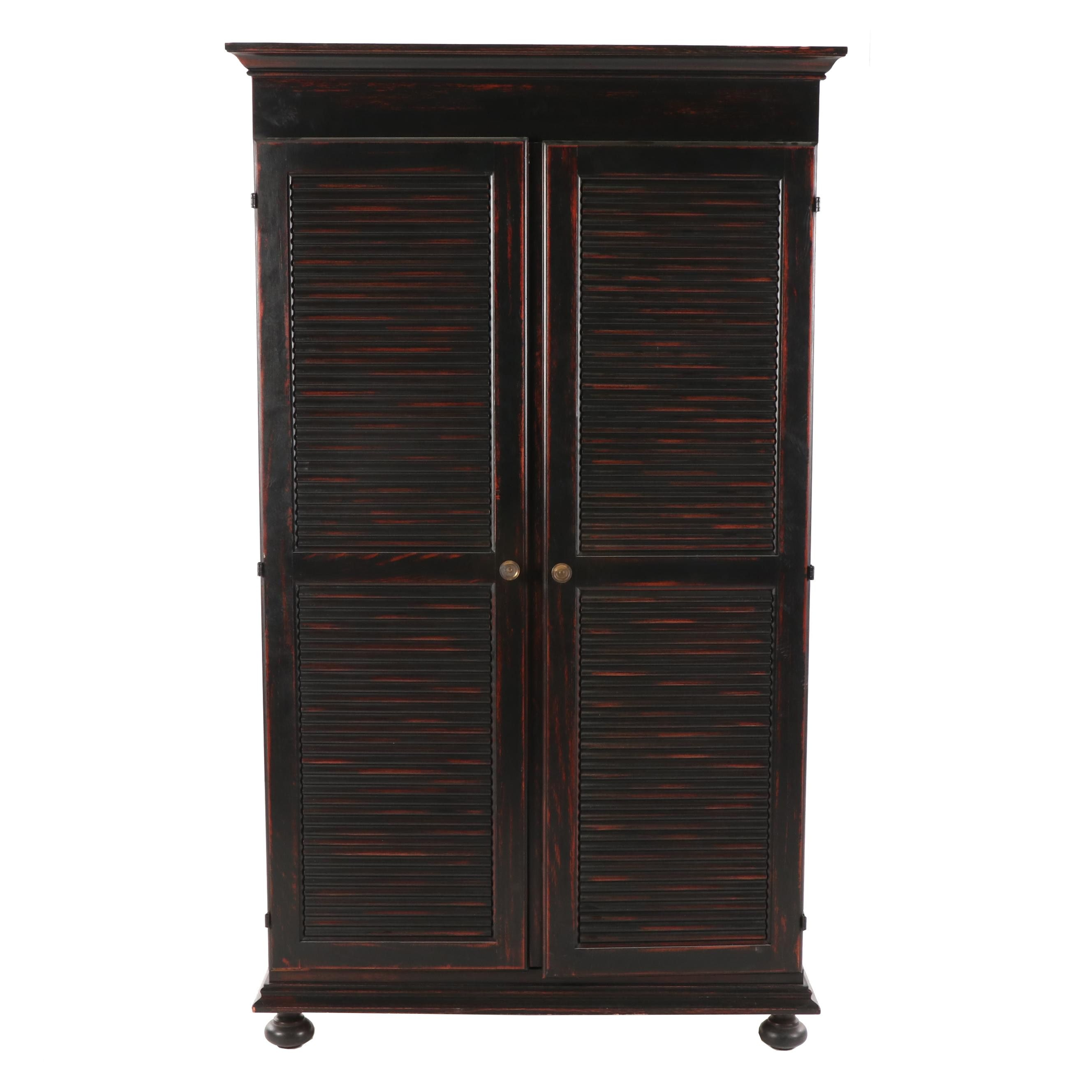 Contemporary Mahogany Stained Wood Media Armoire