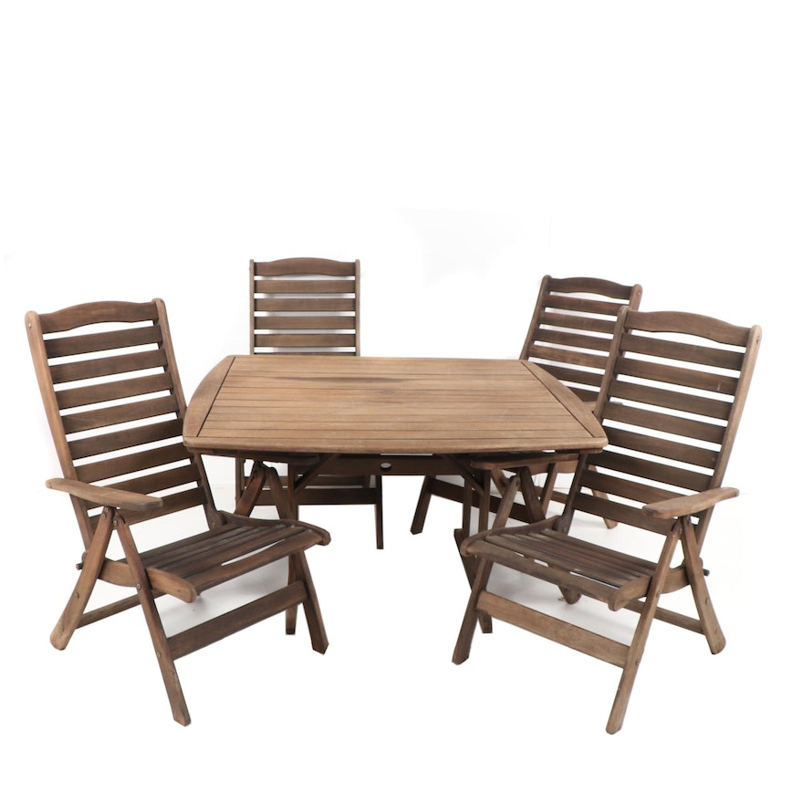 Ipe Patio Dining Table With Folding Armchairs By Jensen Jarrah 21st Century Ebth