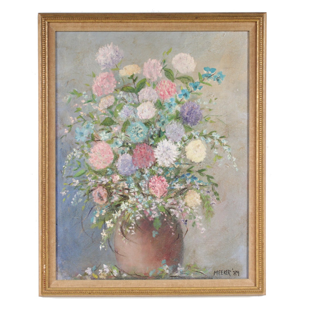 Meeker Oil Still Life Painting On Canvas Board