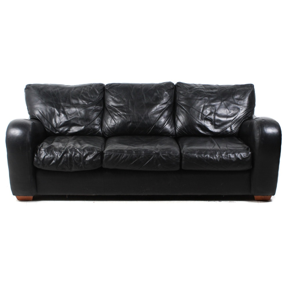Sealy Black Leather Contemporary Style Sofa