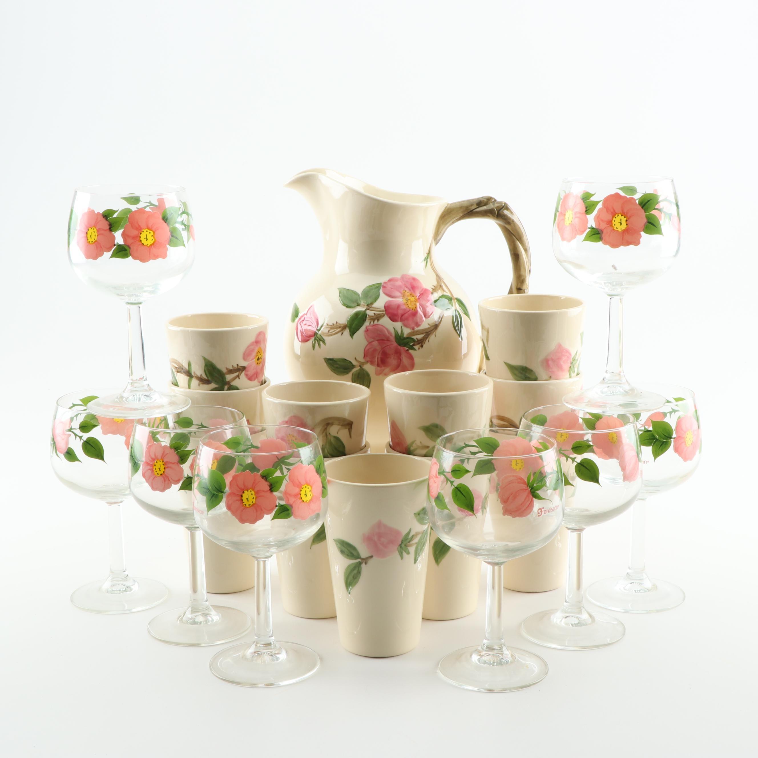 "Franciscan ""Desert Rose"" Ceramic Tumblers / Pitcher Set and Red Wine Glasses"