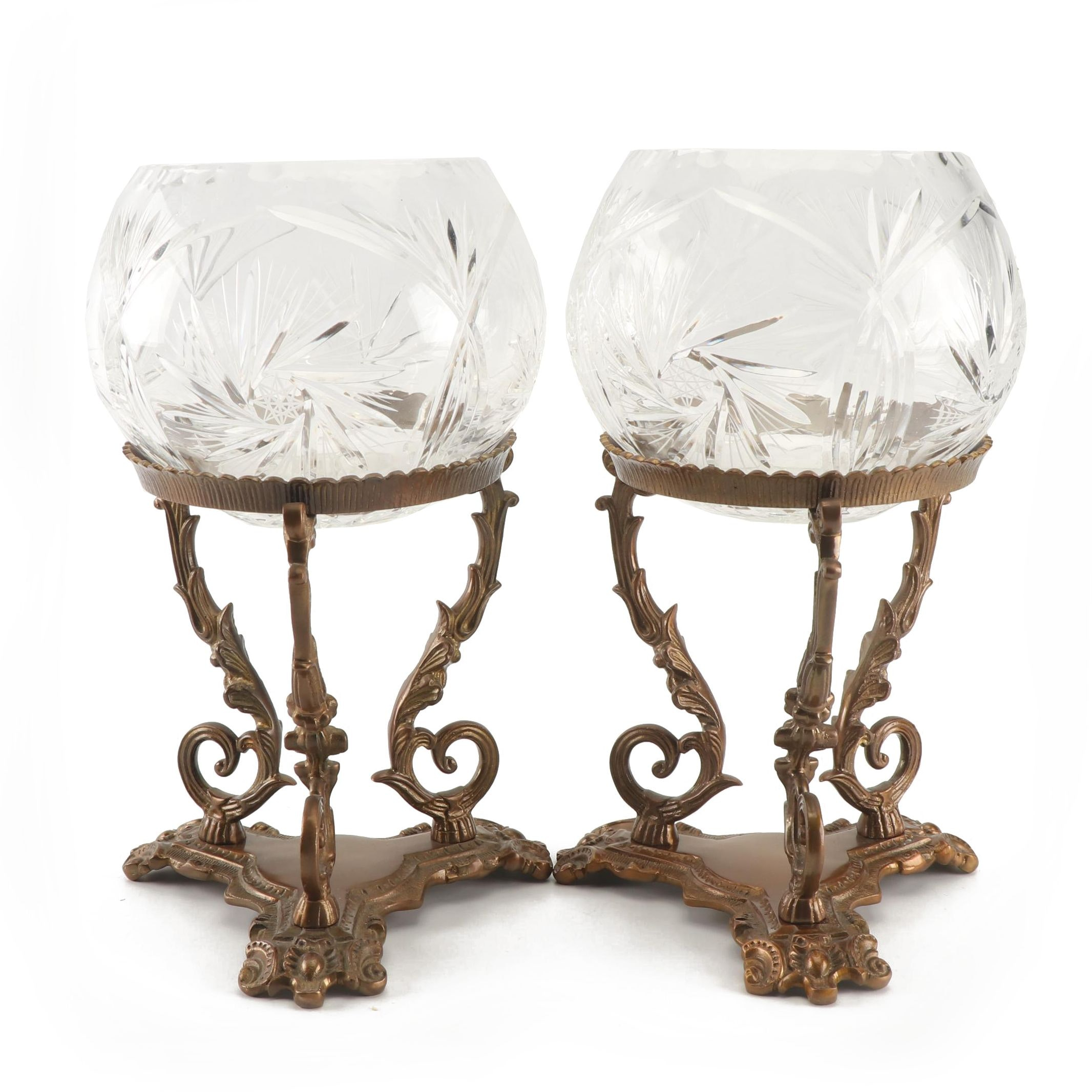 Pair of Brass Stands with Crystal Rose Bowls